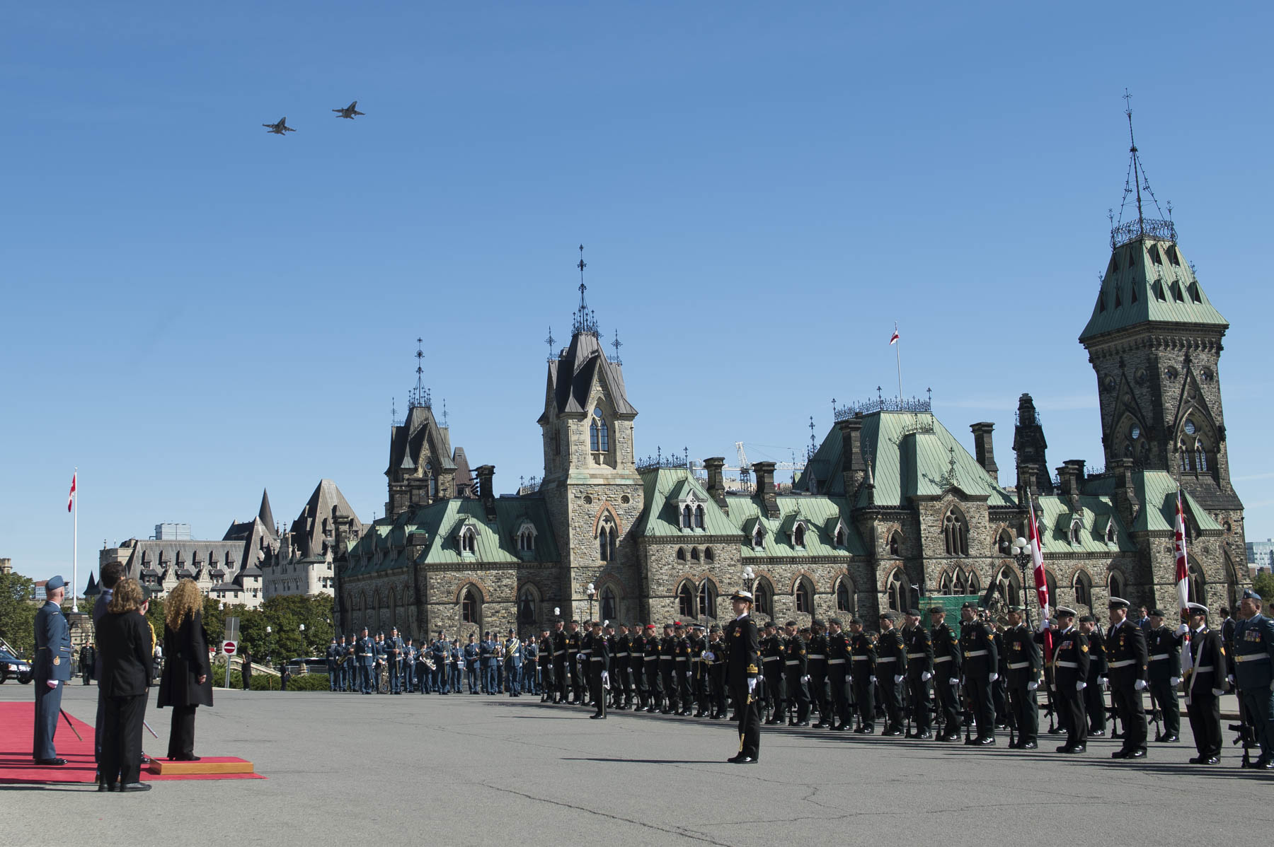 The military honours included a CF-18 flypast.