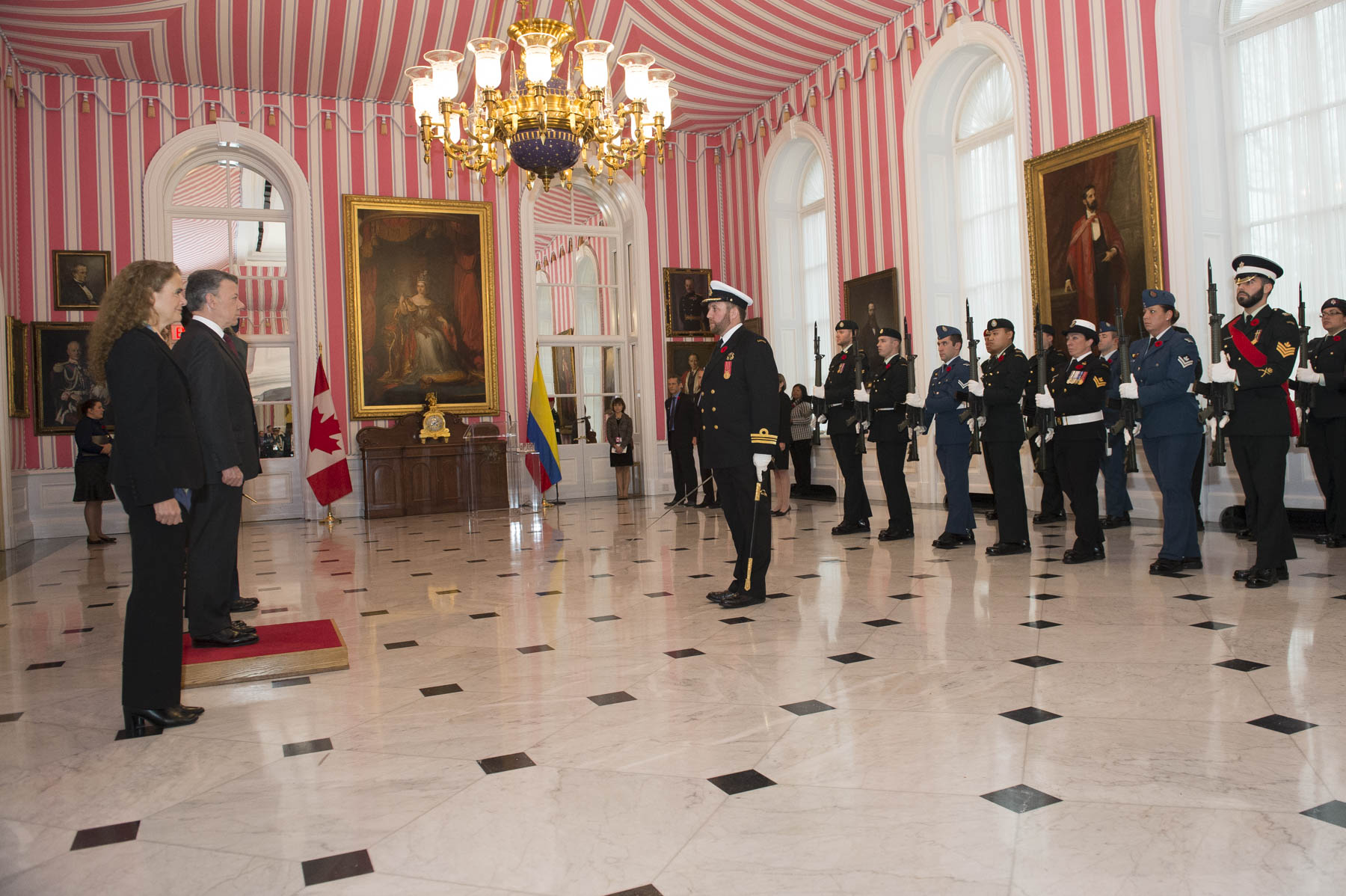 Due to inclement weather, the welcoming ceremony took place inside Rideau Hall's Tent Room.