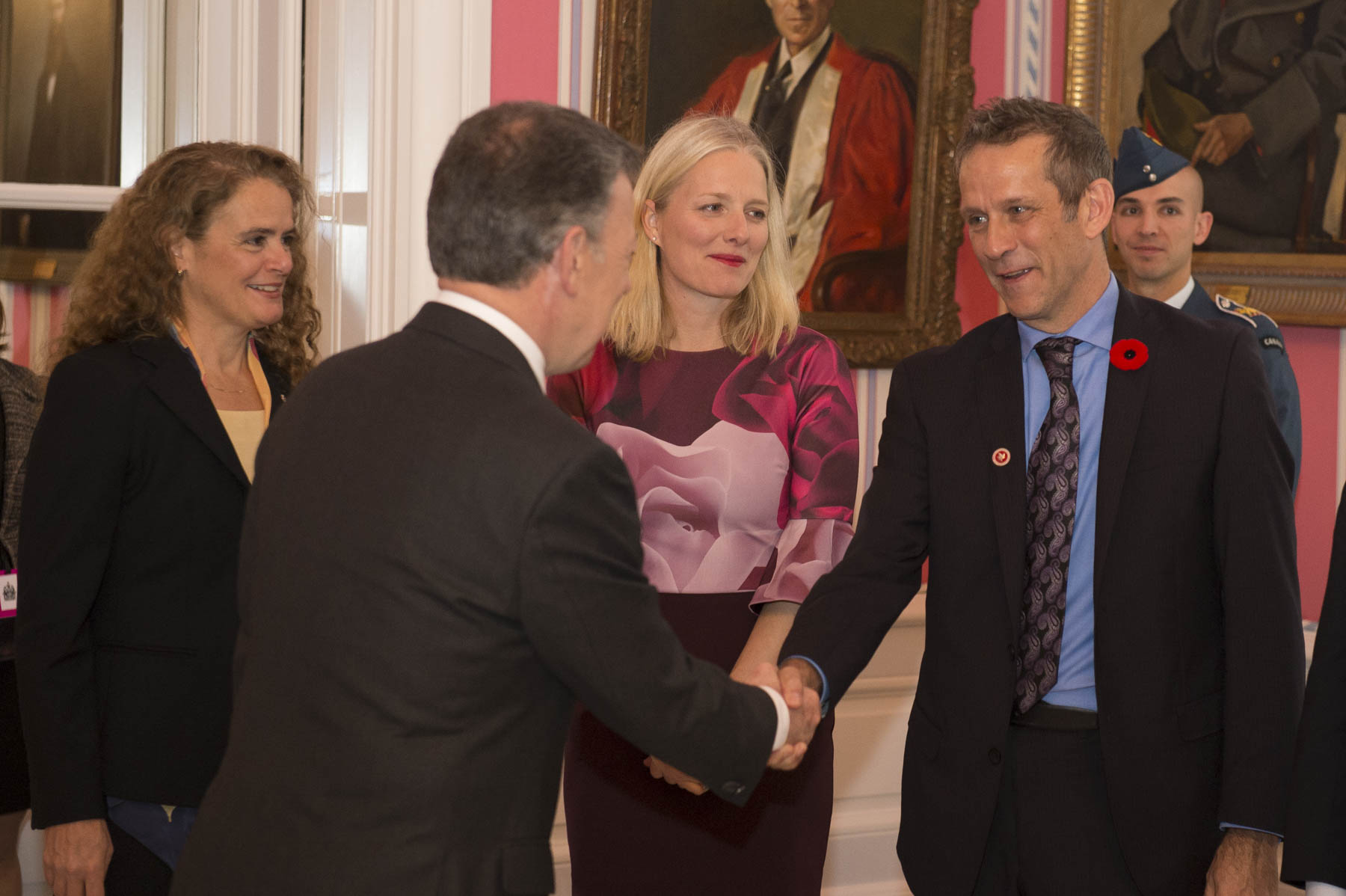 President Santos was introduced to members of the Canadian delegation.
