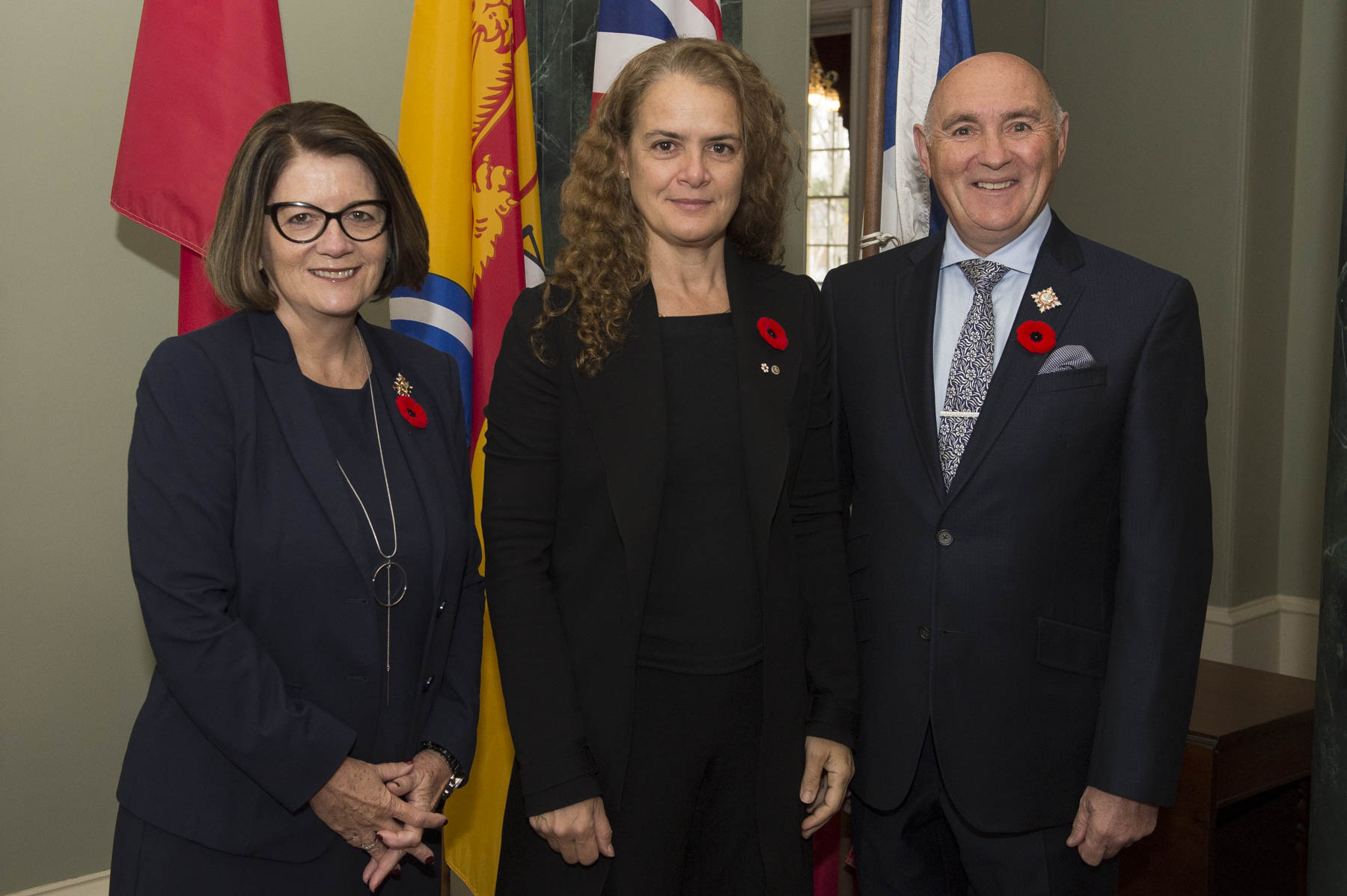 Upon arrival in Fredericton, the Governor General met with Their Honours the Honourable Jocelyne Roy Vienneau, Lieutenant Governor of New Brunswick, and Mr. Ronald Vienneau.