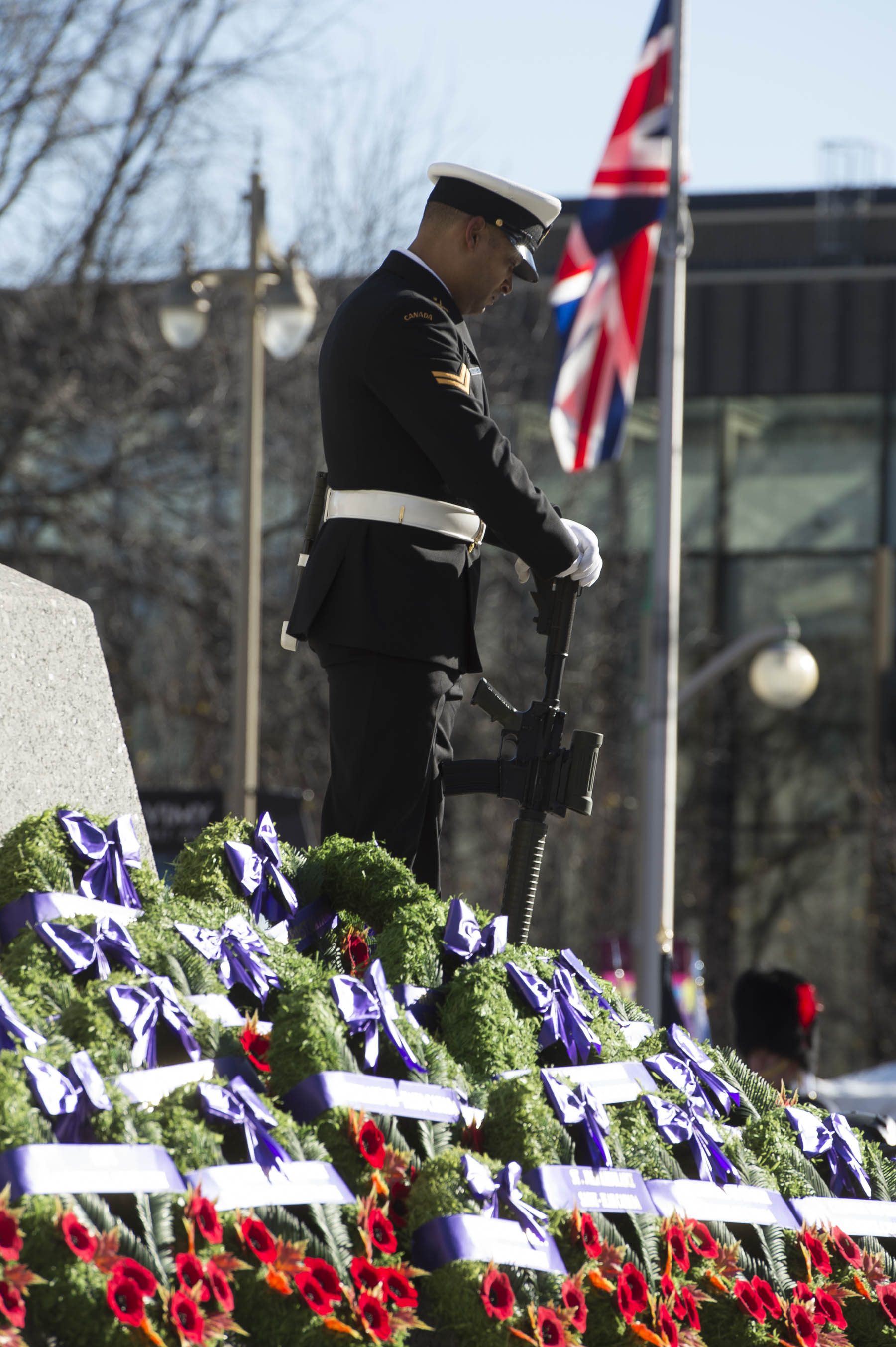 Hundreds of wreaths were laid at the National War Memorial.