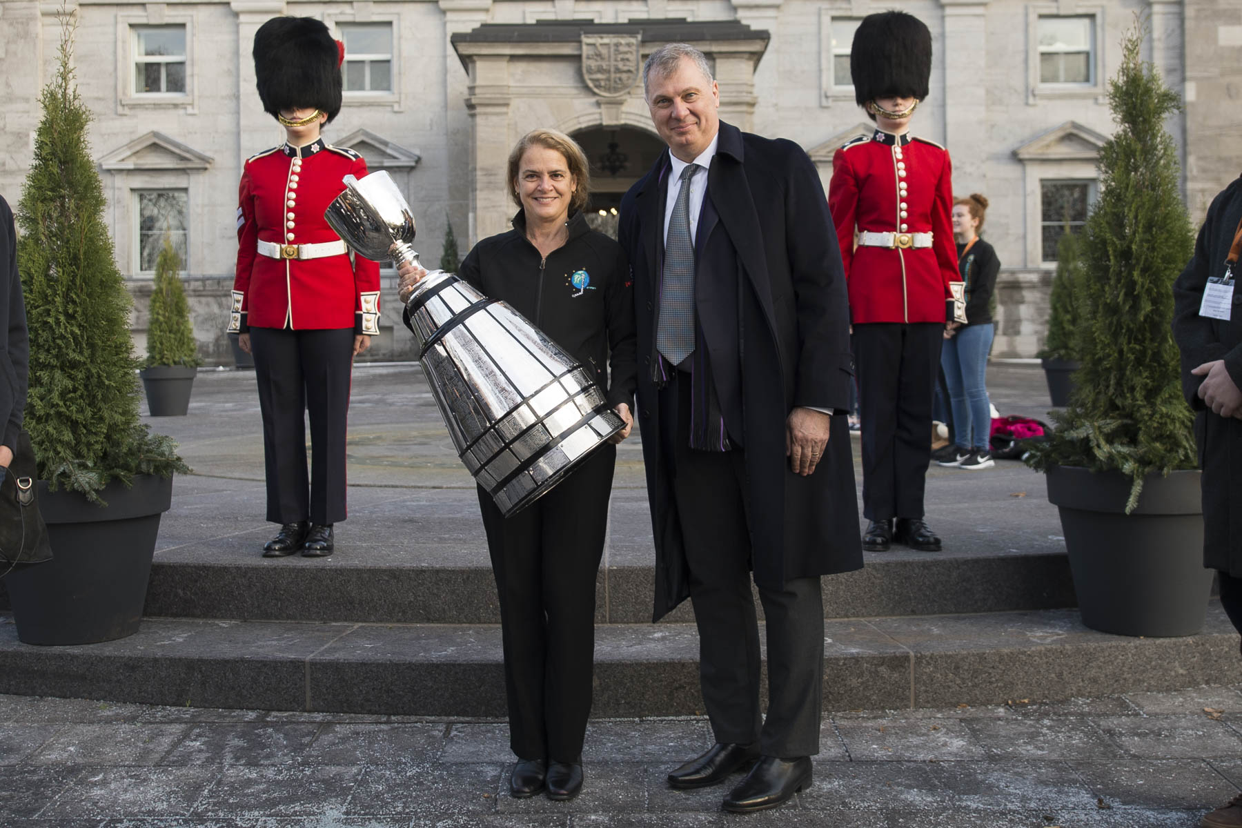 Her Excellency is pictured with Mr. Randy Ambrosie, Canadian Football League (CFL) Commissioner, in front of Rideau Hall.