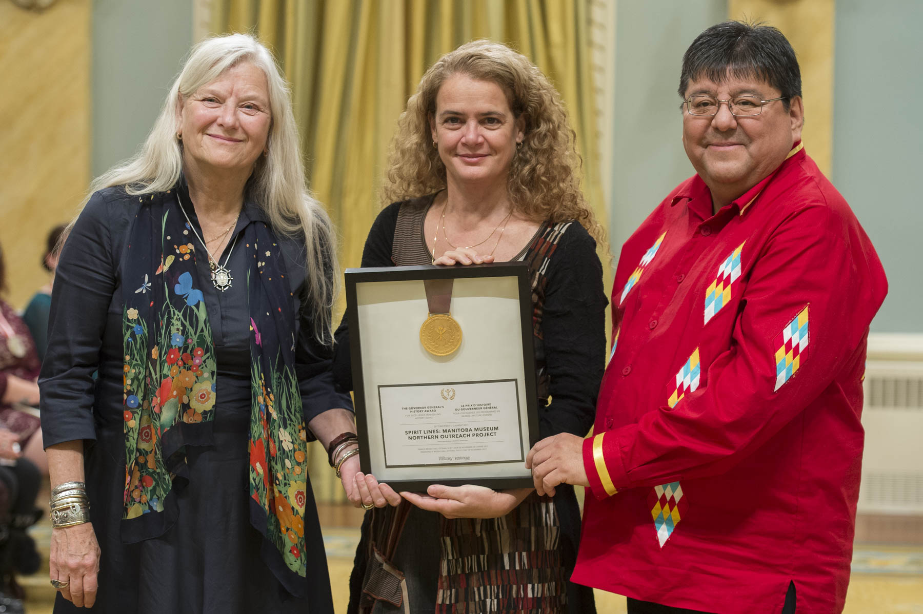 The Governor General's History Award for Excellence in Museums: History Alive! went to Spirit Lines a project from The Manitoba Museum in Winnipeg. This project merges museum content and Indigenous expertise to create two educational kits for use in schools.