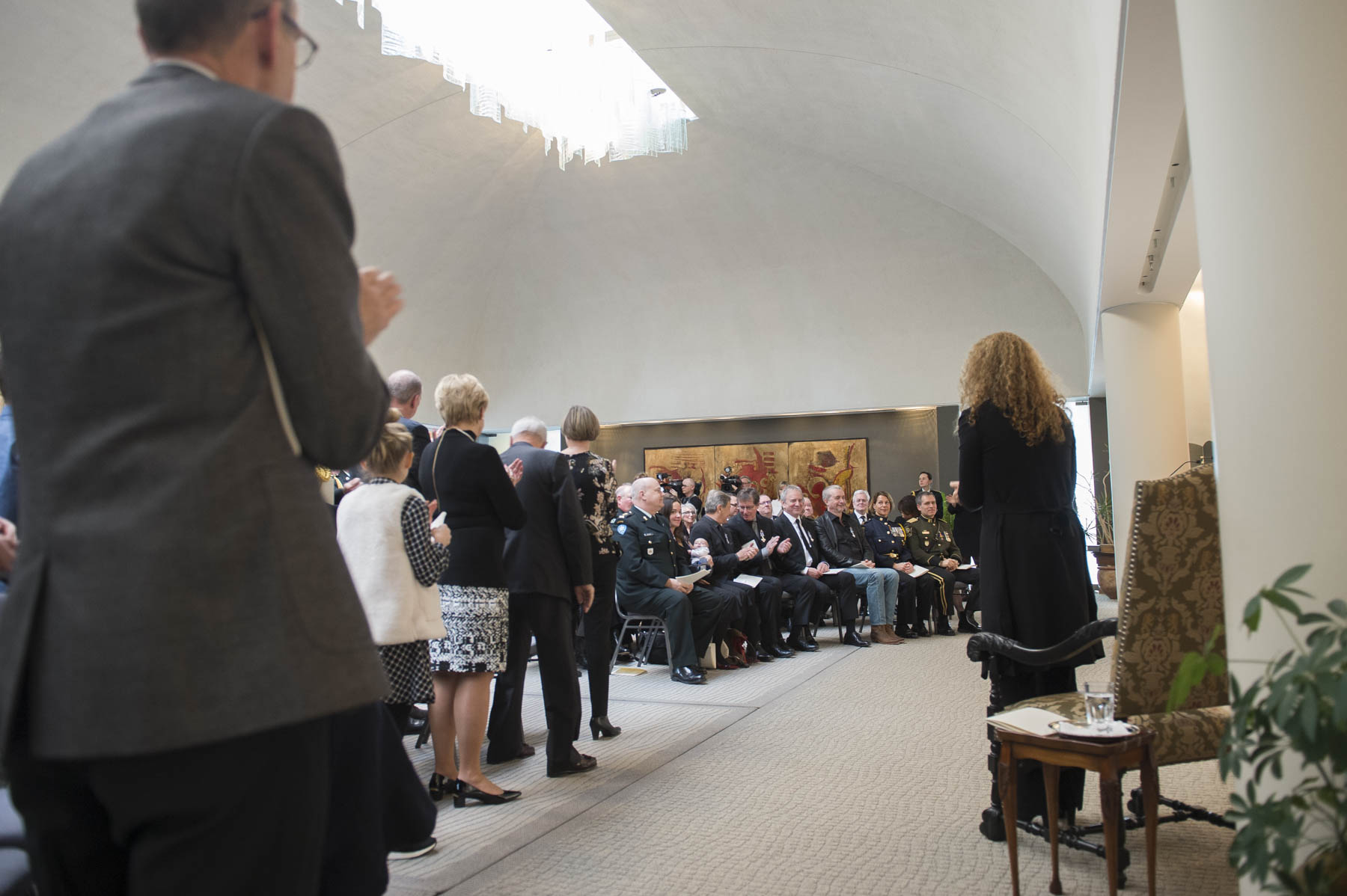 The ceremony took place in the Ballroom, at the Residence of the Governor General at the Citadelle of Québec.