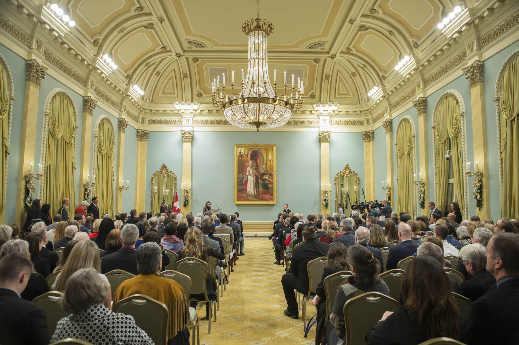 The ceremony was held in the Ballroom, at Rideau Hall.