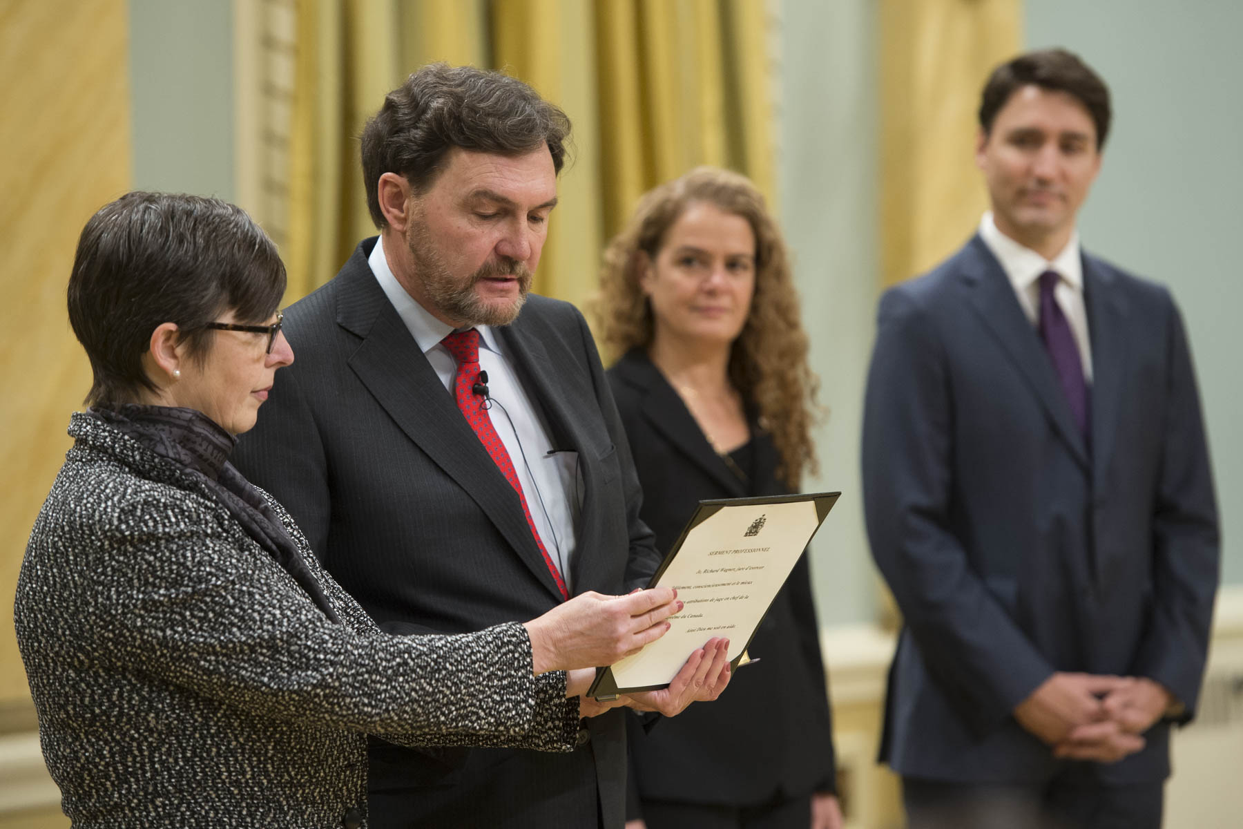 In the presence of Her Excellency, Prime Minister Justin Trudeau, ministers and other distinguished guests, Mr. Wagner took the Oath of Office, the Oath of Allegiance and the Oath of the Members of the Privy Council.