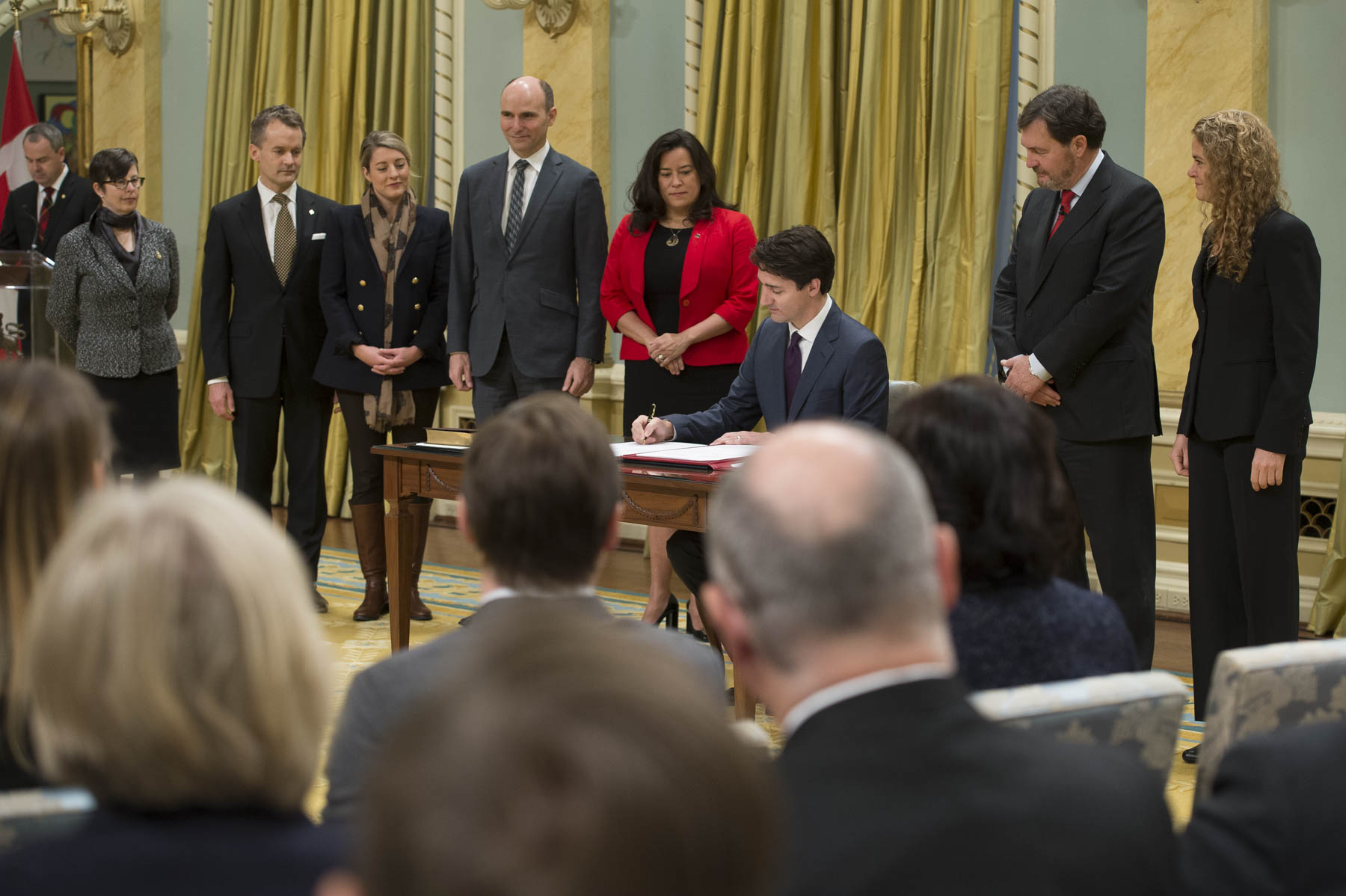 The Prime Minister also signed the oath books and was then followed by the Honourable Jody Wilson-Raybould, Minister of Justice and Attorney General of Canada; the Honourable Jean-Yves Duclos, Minister of Families, Children and Social Development; the Honourable Mélanie Joly, Minister of Canadian Heritage; and the Honourable Seamus O'Regan, Minister of Veterans Affairs and Associate Minister of National Defence.