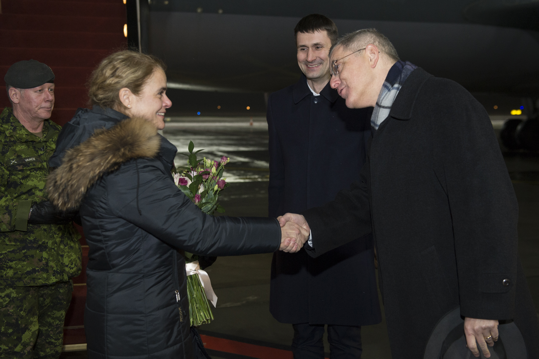 Upon arrival in Latvia, Her Excellency was welcomed by government officials.