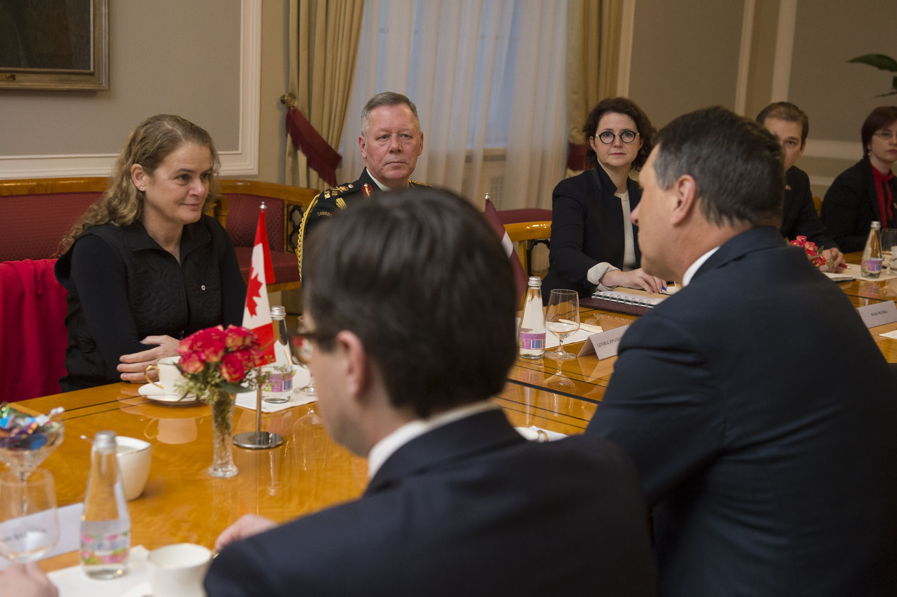 The Governor General started her day by meeting with His Excellency Raimonds Vejonis, President of the Republic of Latvia to discuss Canada-Latvia bilateral relations and to highlight areas for further strengthening of co-operation between both countries.