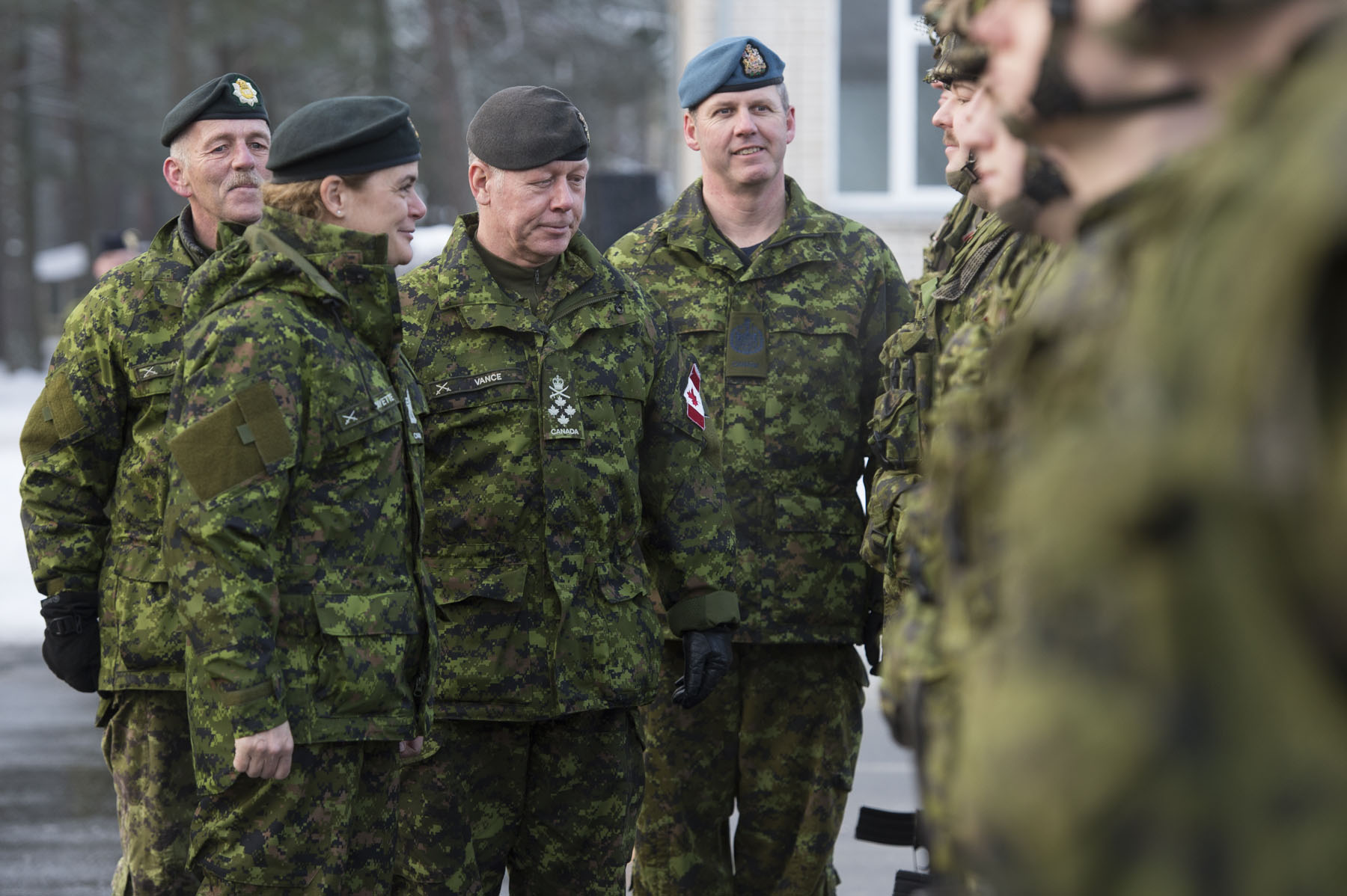 Later that morning, Her Excellency and General Jonathan Vance, Chief of the Defence Staff travelled to Camp Adaži to meet with troops serving in NATO's multinational enhanced Forward Presence Battlegroup Latvia (eFP BG).