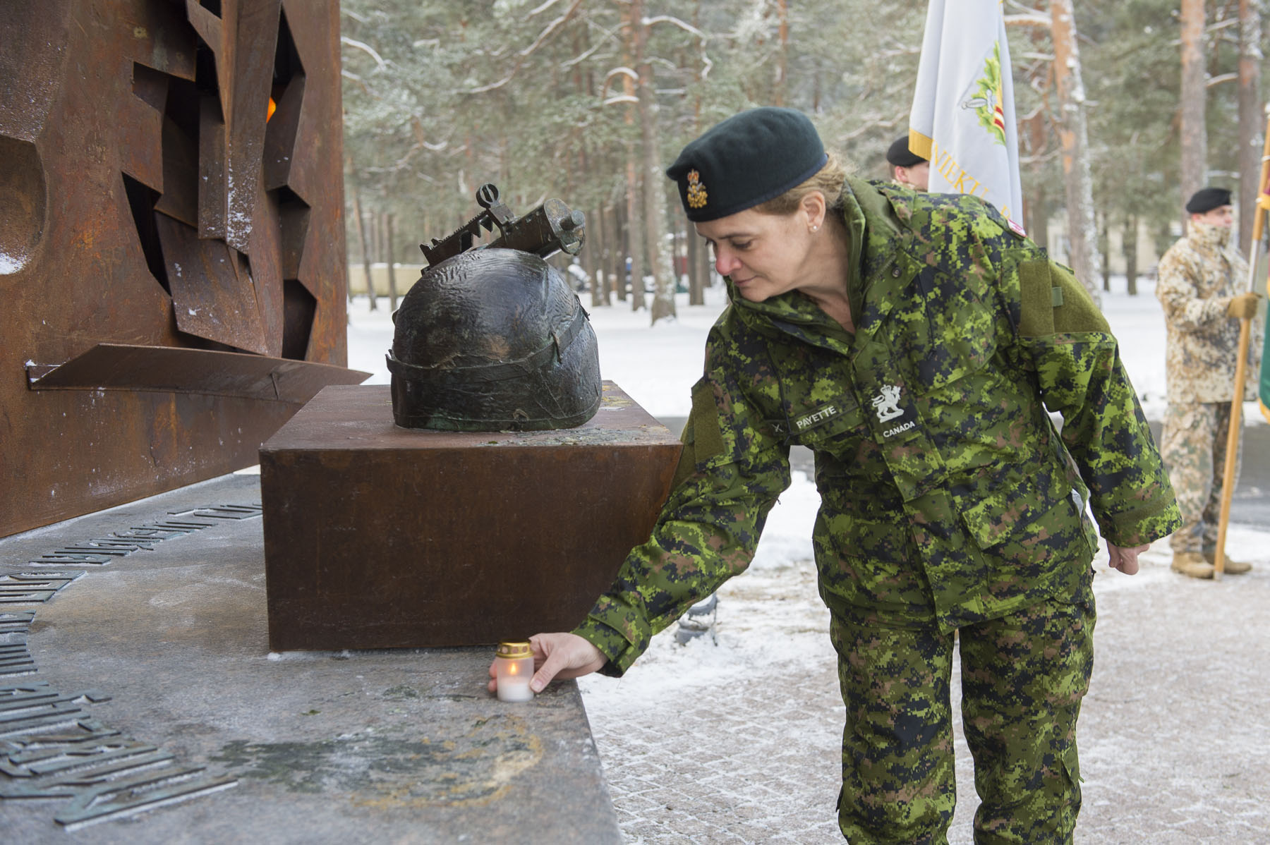 At Camp Adaži, Her Excellency lit a candel in memory of Latvian soldiers who lost their lives defending their country.
