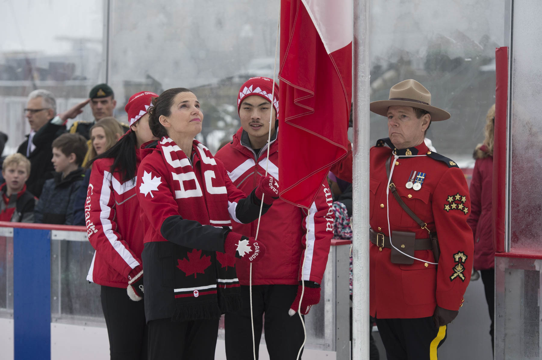 Next, the Honourable Kirsty Duncan, Minister of Science and Minister of Sport and Persons with Disabilities along with two Special Olympics athletes raised the Canadian flag.
