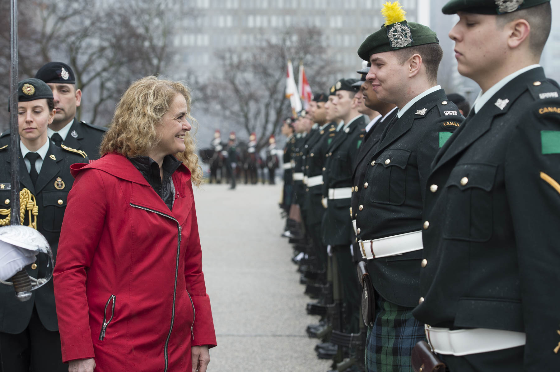 During the review of the guard, Her Excellency stopped to chat with troops.