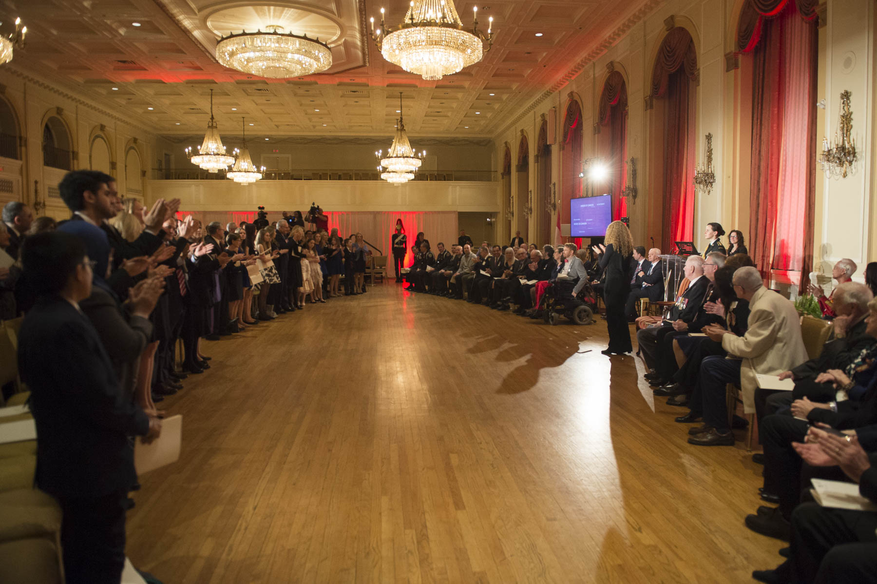 In the afternoon, the Governor General presented honours during a ceremony at the Fairmont Royal York's Concert Hall. Close to 60 remarkable Canadians were recognized with the Order of Canada, Decorations for Bravery, Meritorious Service Decorations, or the Sovereign's Medal for Volunteers.