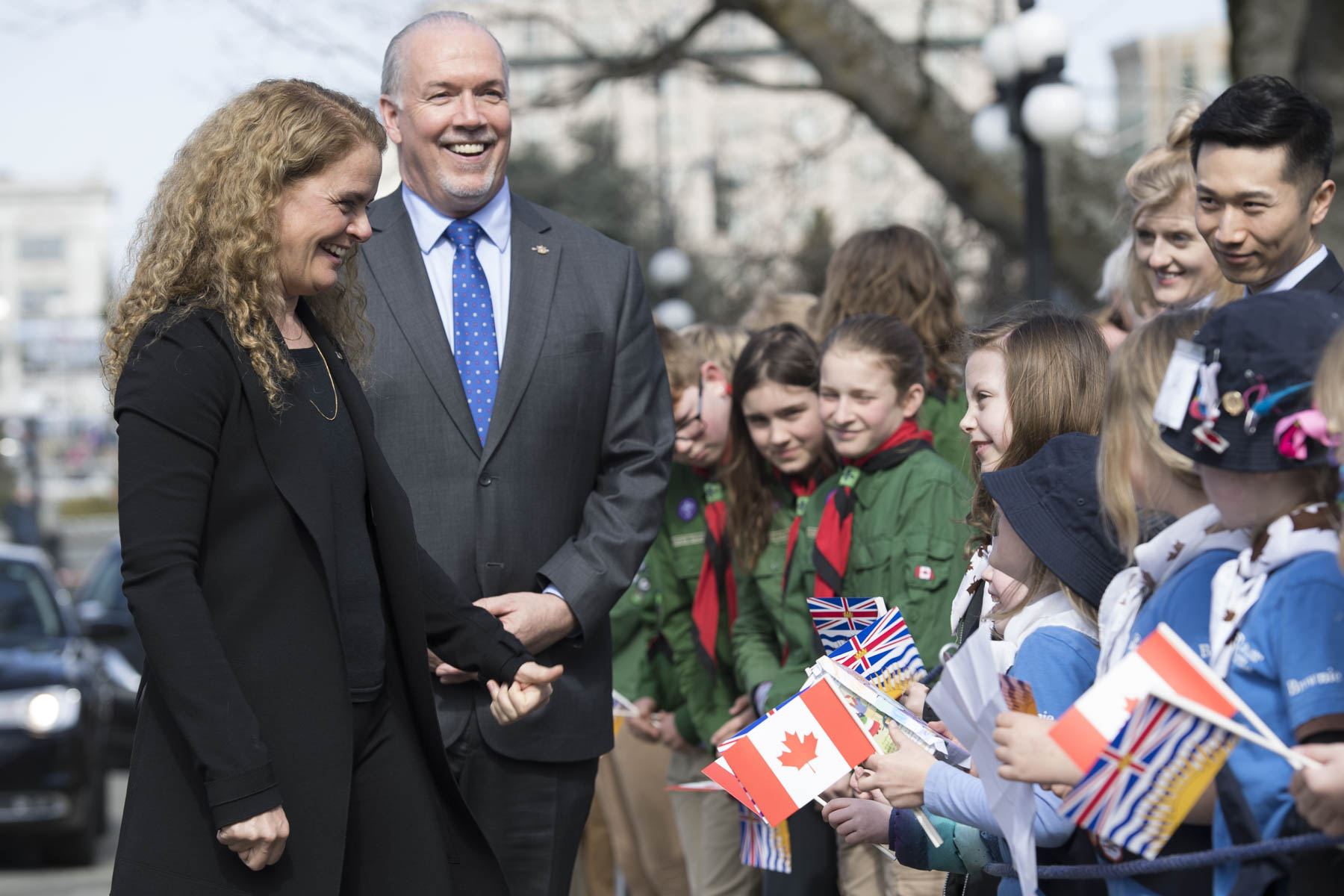The Governor General was officially welcomed to the province by the Honourable John Horgan, Premier of British Columbia.