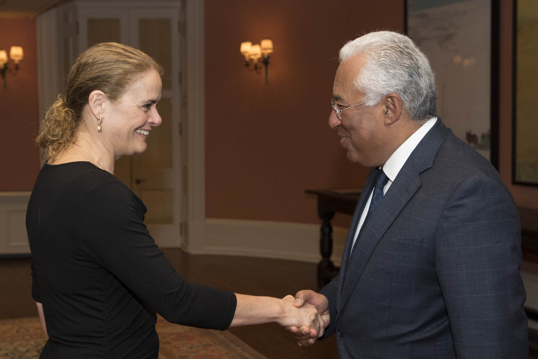 Her Excellency the Right Honourable Julie Payette, Governor General of Canada, met with His Excellency António Costa, Prime Minister of the Portuguese Republic, on Thursday, May 3, 2018, at Rideau Hall.