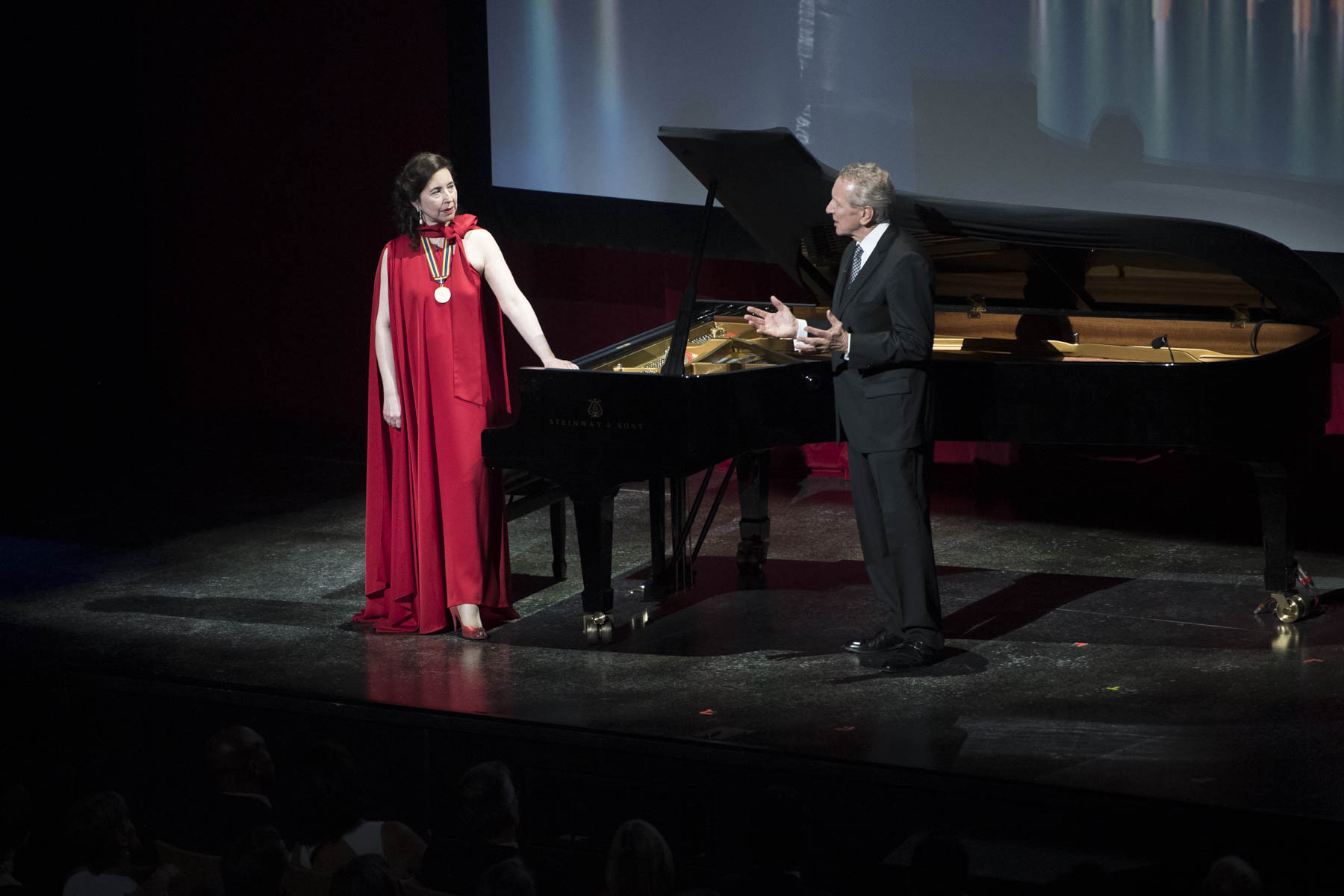 Eric Friesen presented the tribute to pianist Angela Hewitt.