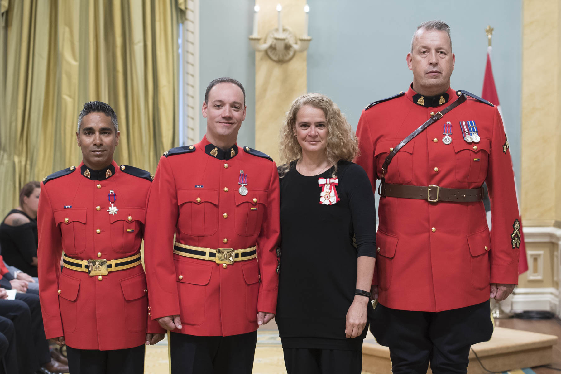 RCMP constables Sidney Gaudette and Sheldon Shah, along with Sergeant Gregory Gerbrandt received a Decoration for Bravery. On February 7, 2012, they came under fire while executing a search warrant at a farmhouse near Sedgewick, Alberta. Despite being struck by several bullets, Constable Shah provided cover for an injured Constable Gaudette and continued to defend himself against the gunman until both officers were outside, whereupon he collapsed. Covered by Constable Gaudette, Sergeant Gerbrandt exposed himself to fire and pulled Constable Shah to safety, before taking his wounded colleagues to a nearby hospital.