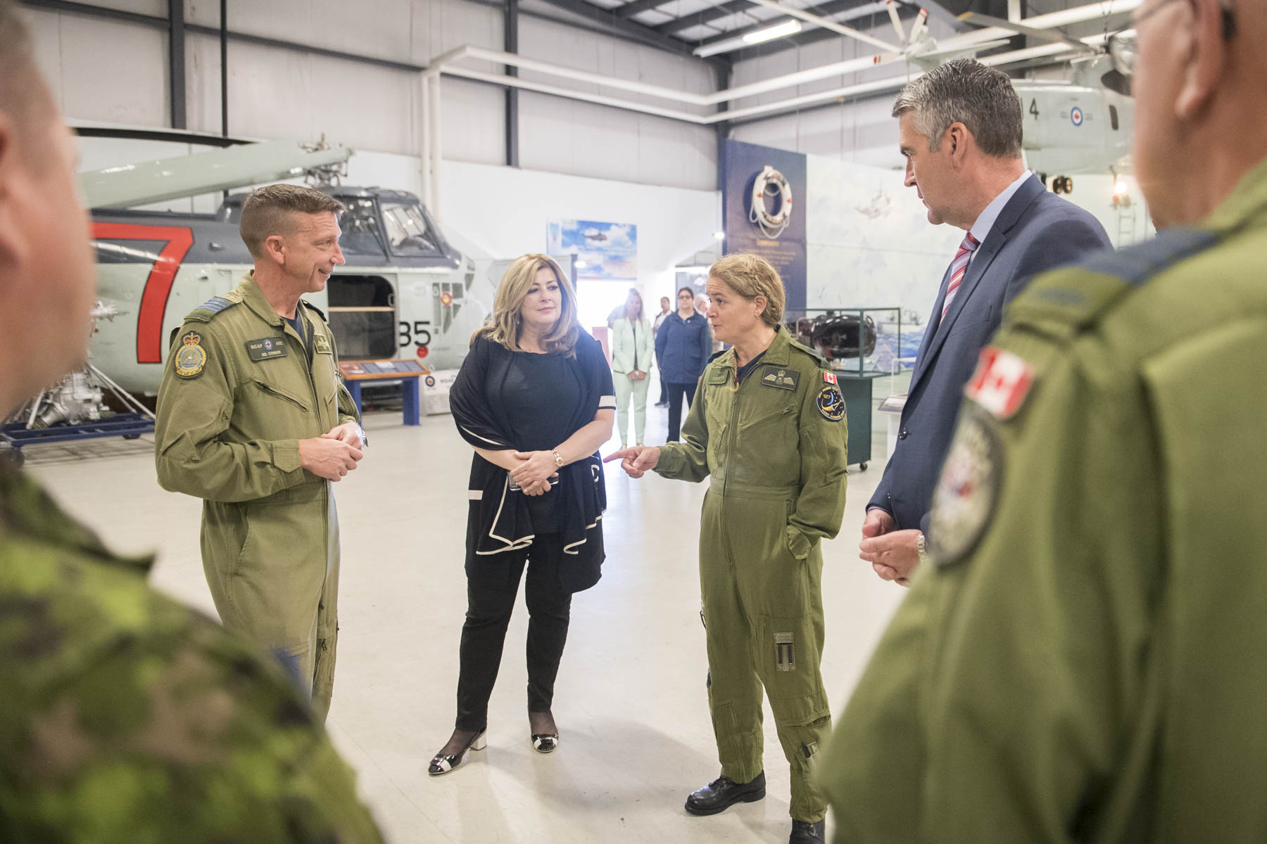 Upon arrival at 12 Wing Shearwater, the Governor General, the Honourable Stephen McNeil, Premier of Nova Scotia, and Colonel Sid Connor, 12 Wing Commanding Officer, toured the Shearwater Aviation Museum to learn about the airfield's rich history.