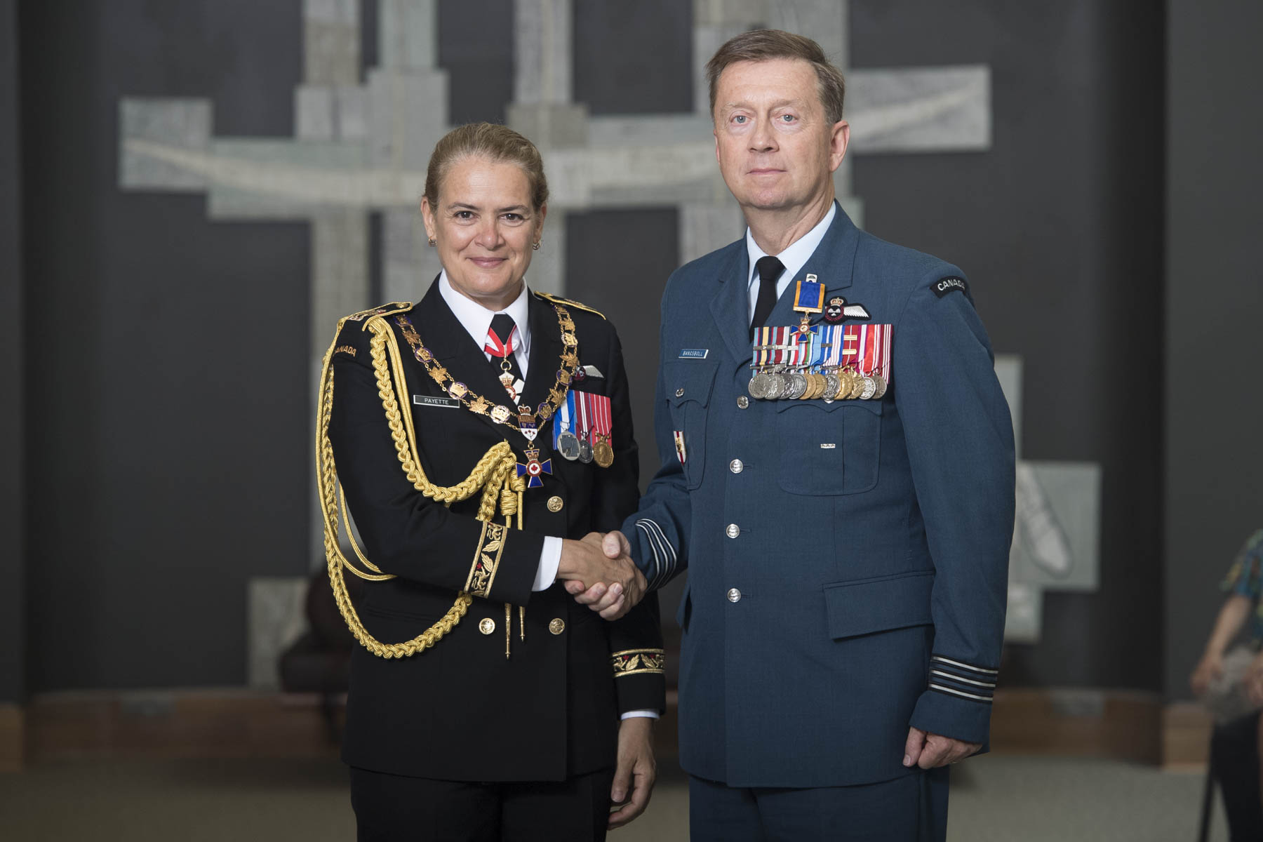Her Excellency bestowed the honour of Officer of the Order of Military Merit upon Lieutenant-Colonel Brook Garrett Bangsboll, O.M.M., C.D.