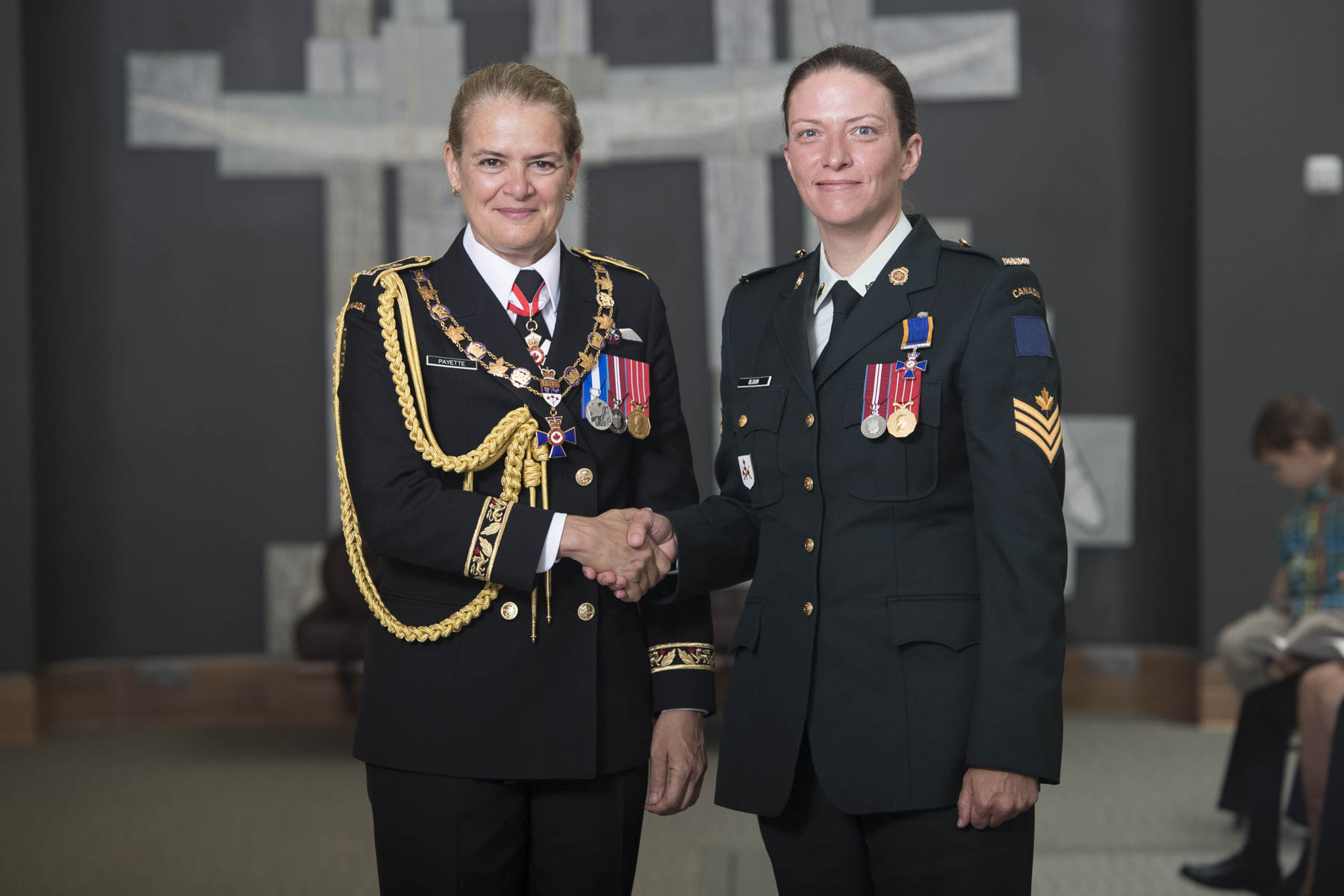 Her Excellency bestowed the honour of Member of the Order of Military Merit upon Sergeant Marie Stella Thérèse Geneviève Blouin, M.M.M., C.D.