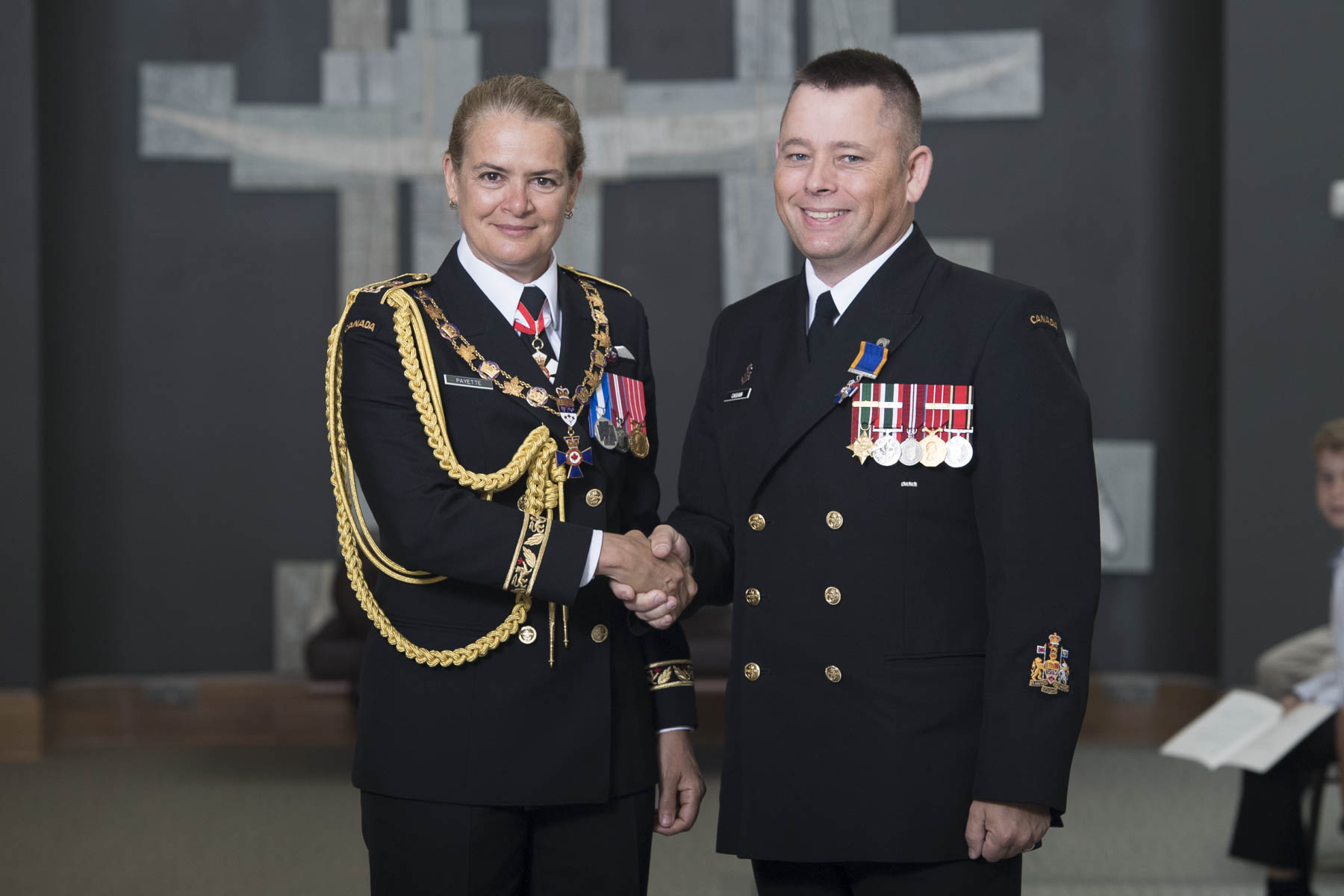 Her Excellency bestowed the honour of Member of the Order of Military Merit upon Chief Petty Officer 1st Class Martin David Cashin, M.M.M., C.D.