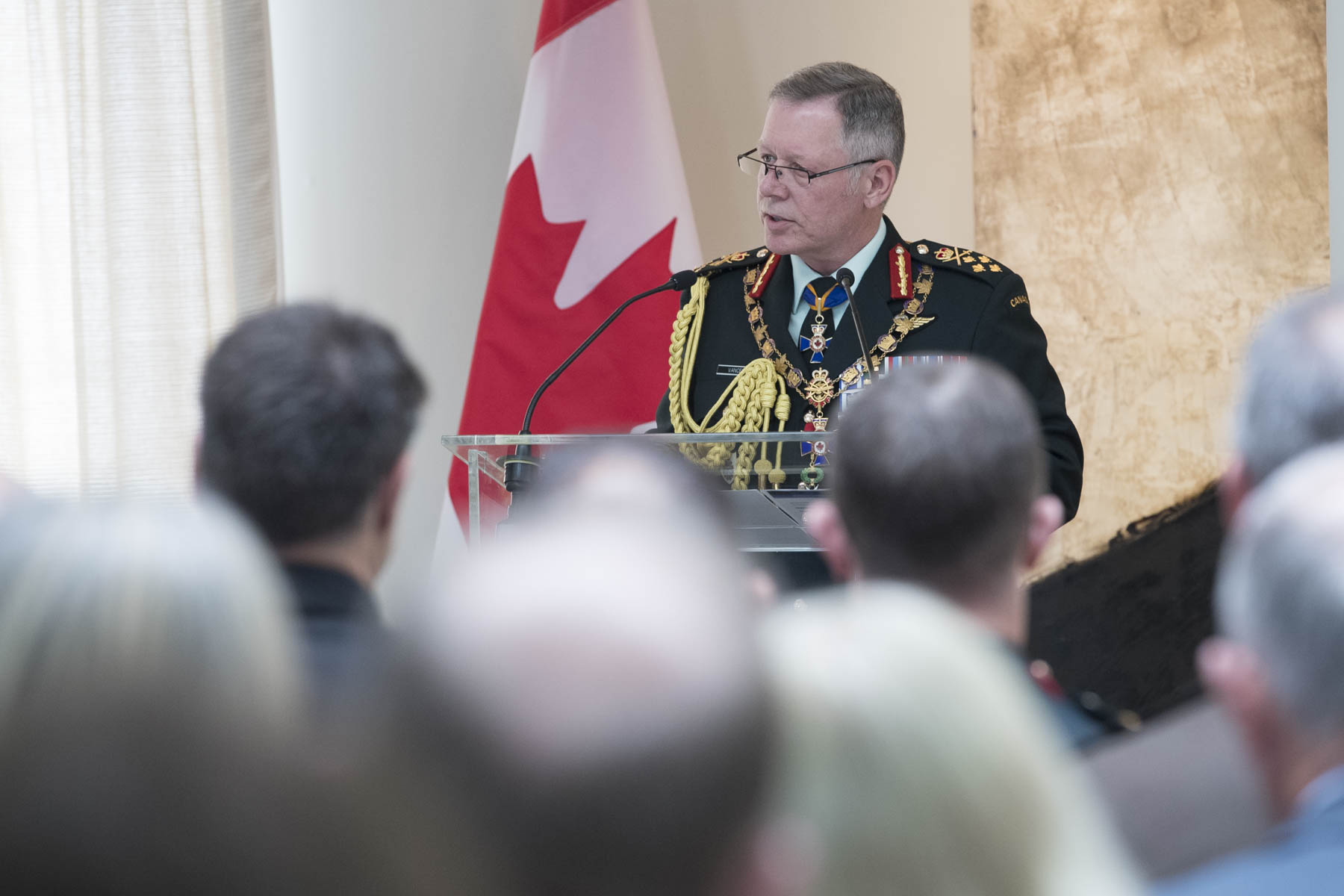 General Jonathan Vance, Chief of the Defence Staff offered closing remarks in which he congratulated the newly invested members of the Order of Military Merit for their dedication and exceptional service.