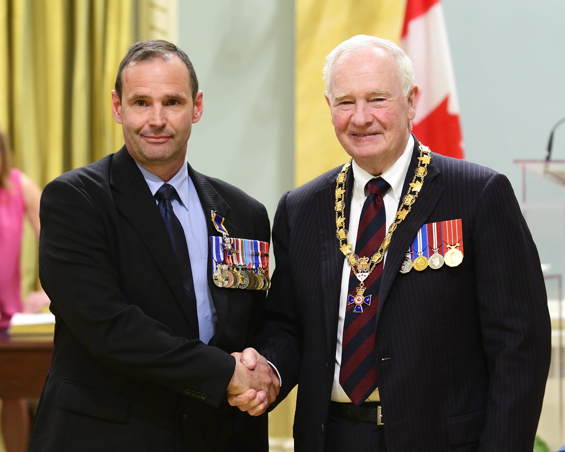 His Excellency presented the Order of Military Merit at the Member level (M.M.M.) to Master Warrant Officer Raymond Brodeur, M.M.M., M.S.M., C.D., 1st Battalion, Princess Patricia's Canadian Light Infantry, Edmonton, Alberta.