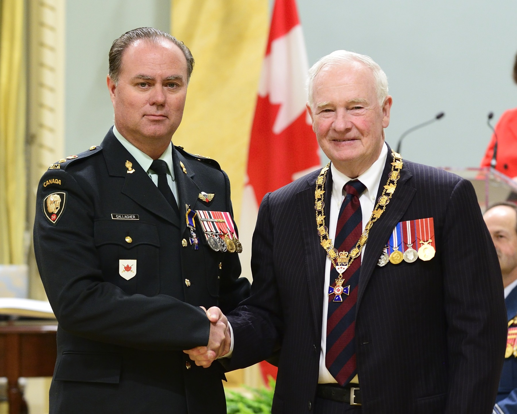 His Excellency presented the Order of Military Merit at the Member level (M.M.M.) to Major Stephen Gallagher, M.M.M., C.D., 4th Air Defence Regiment, Royal Canadian Artillery, Burton, New Brunswick.