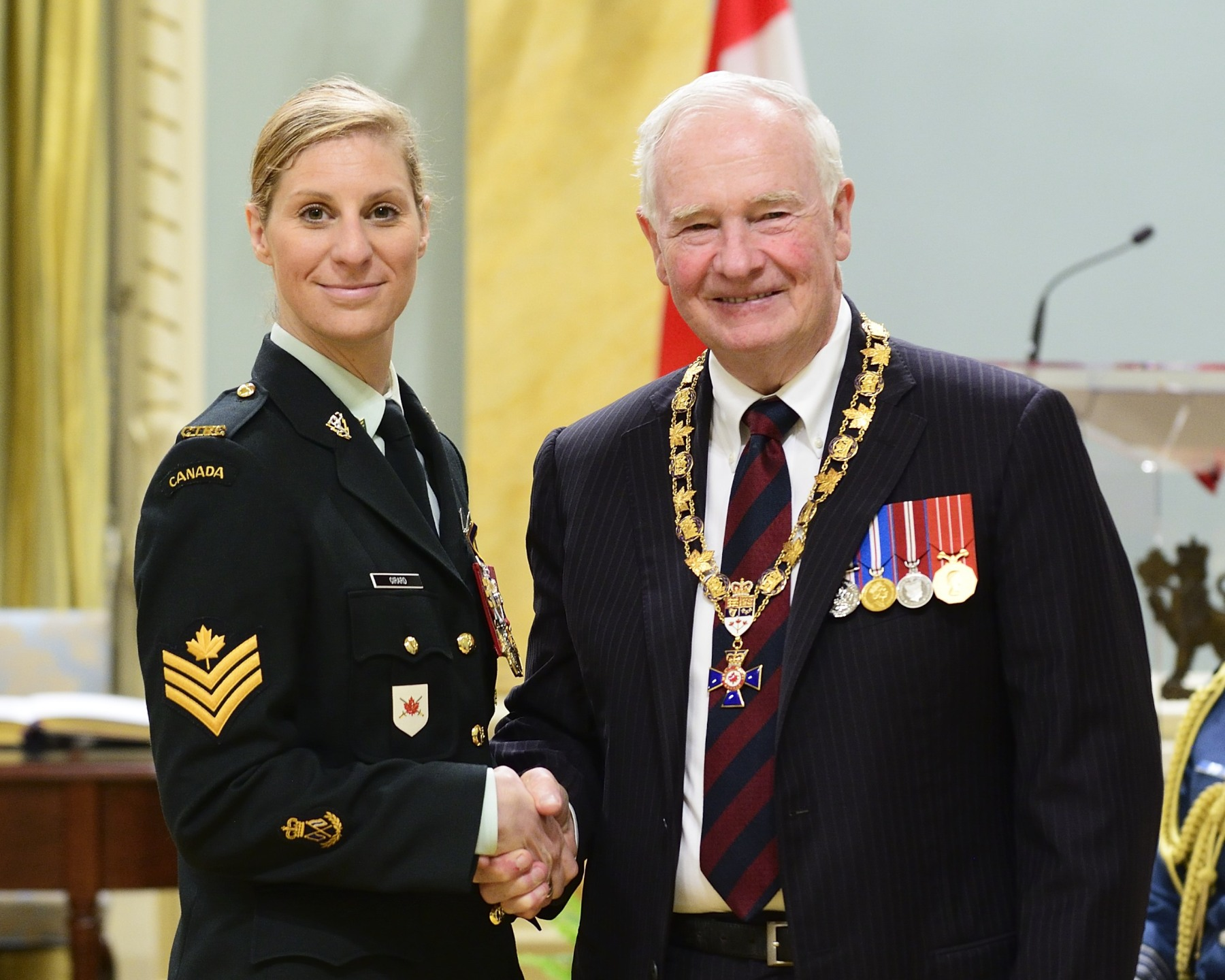 His Excellency presented the Order of Military Merit at the Member level (M.M.M.) to Sergeant Rachel Girard, M.M.M., C.D., 2nd Canadian Division Support Group Signal Squadron, Richelain, Quebec.