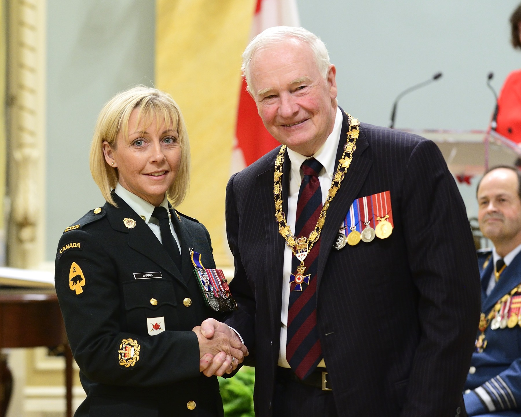 His Excellency presented the Order of Military Merit at the Member level (M.M.M.) to Master Warrant Officer Crystal Harris, M.M.M., C.D., 4th Canadian Division Training Centre, Meaford, Ontario.