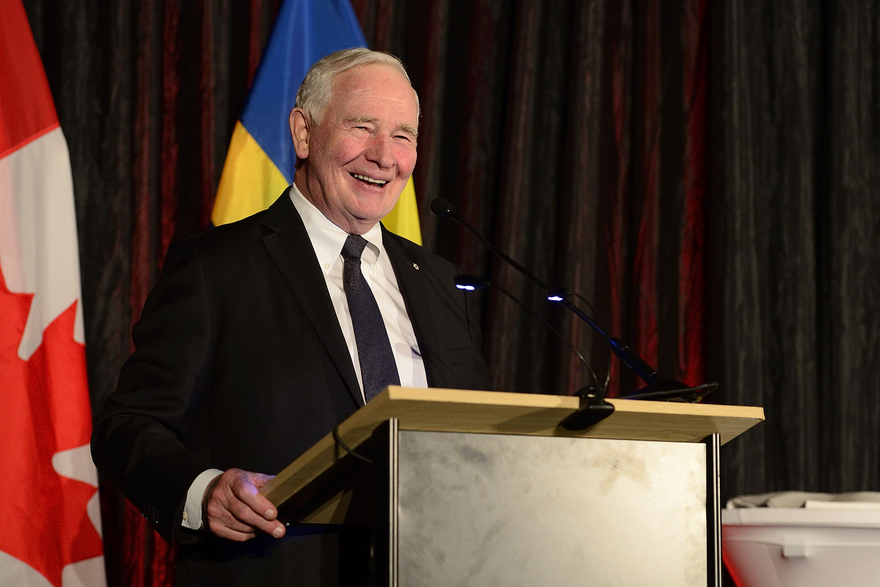 "During the reception, His Excellency delivered remarks."" On behalf of my wife, Sharon, and the entire Canadian delegation, I thank you for welcoming us so warmly to Sweden. We're so pleased to be here among friends!"""
