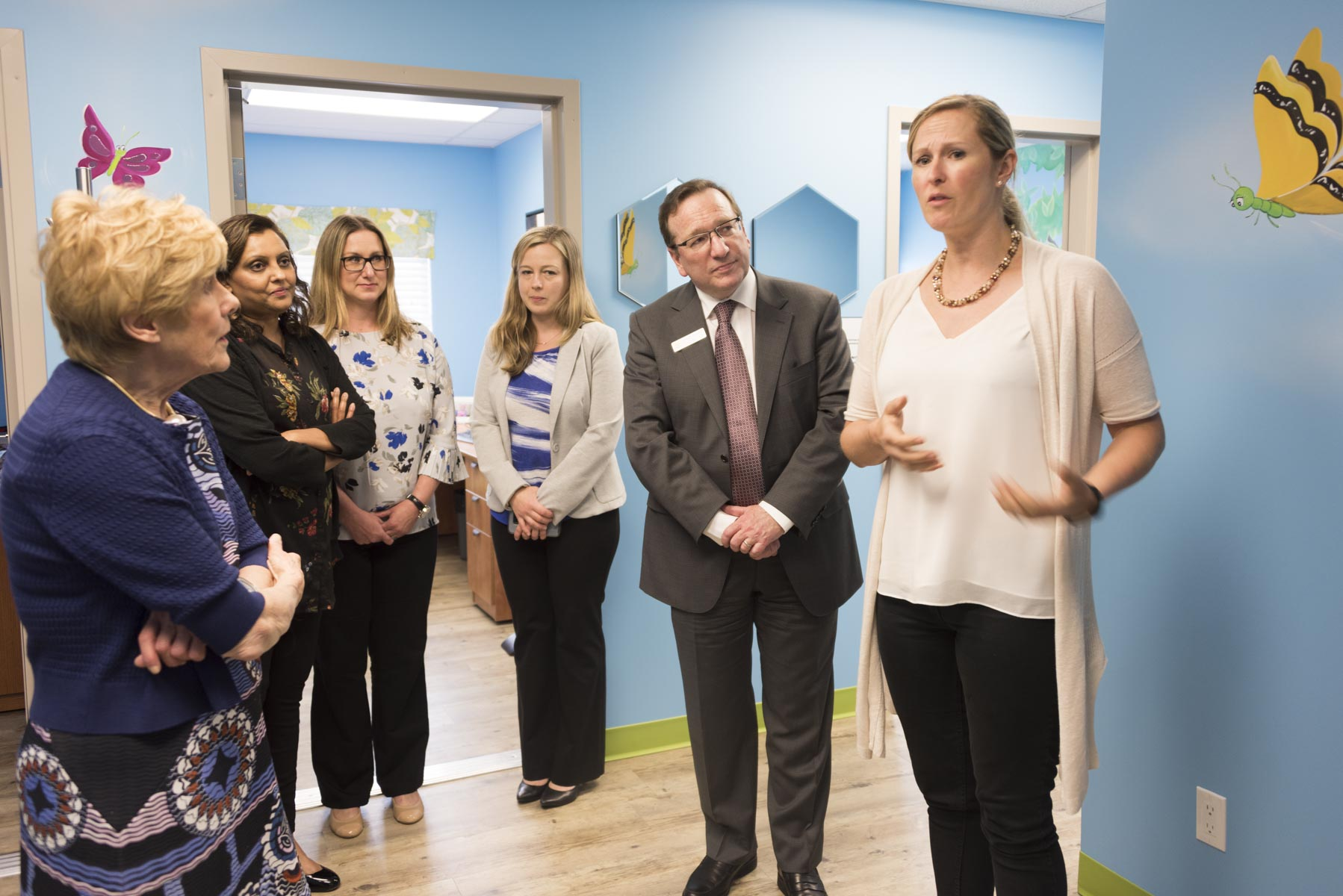 Within the same facility, she also visited Sophie's Place, which was created to help young victims of physical, mental, emotional or sexual abuse.