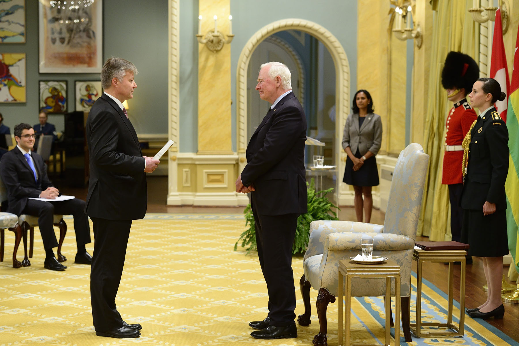 Next His Excellency Karlis Eihenbaums, Ambassador of the Republic of Latvia presented his letter of credence.