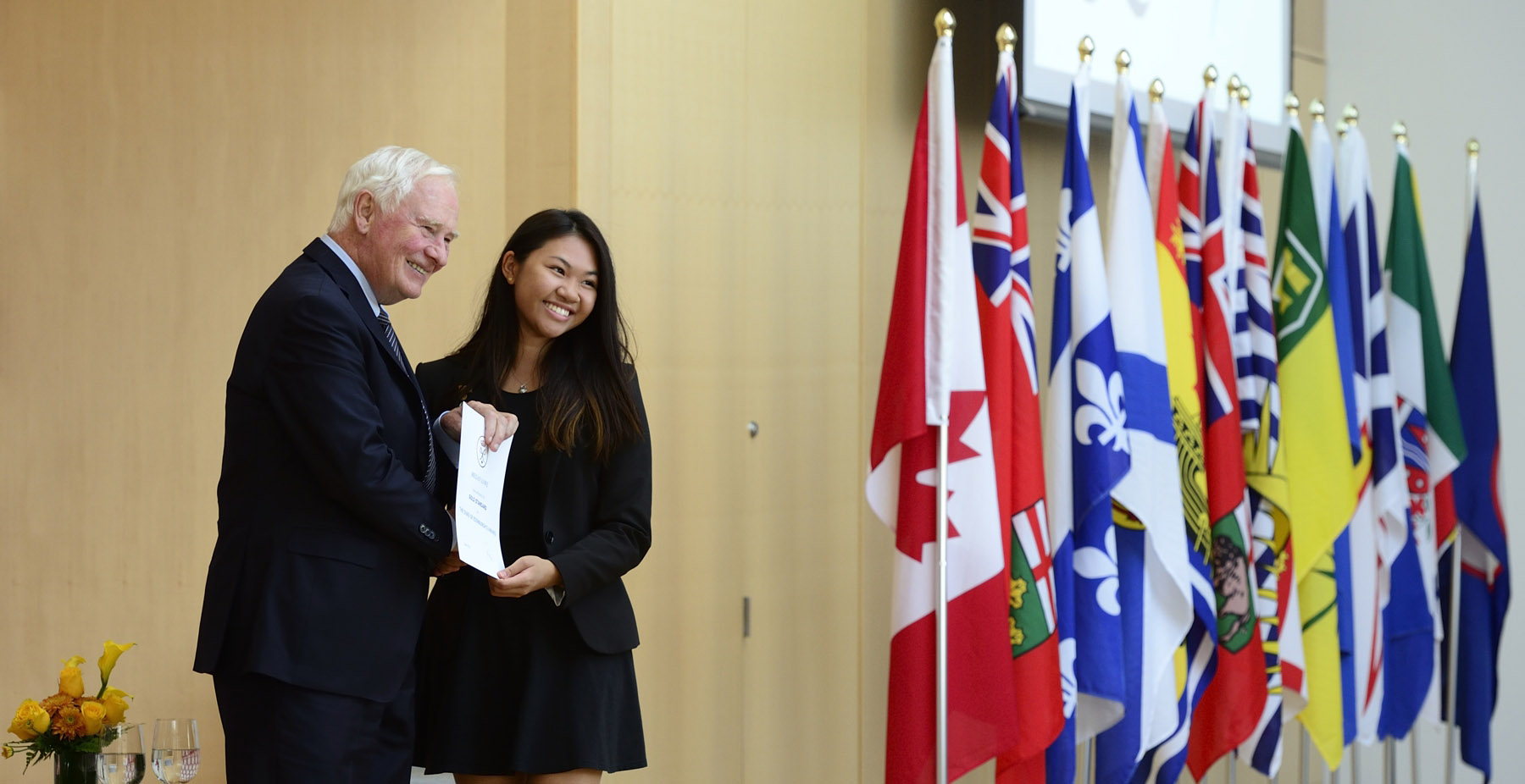 Later, the Governor General presented The Duke of Edinburgh's Gold Award to more than 60 young people from across Canada at the  Ismaili Centre in Toronto.