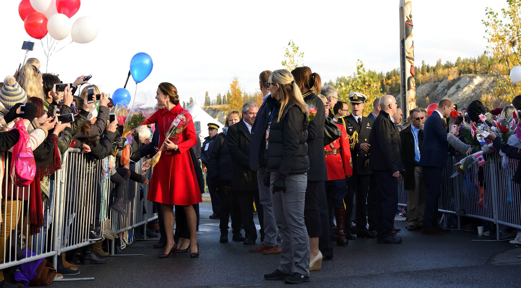 The Duchess of Cambridge received flowers from people in Whitehorse.