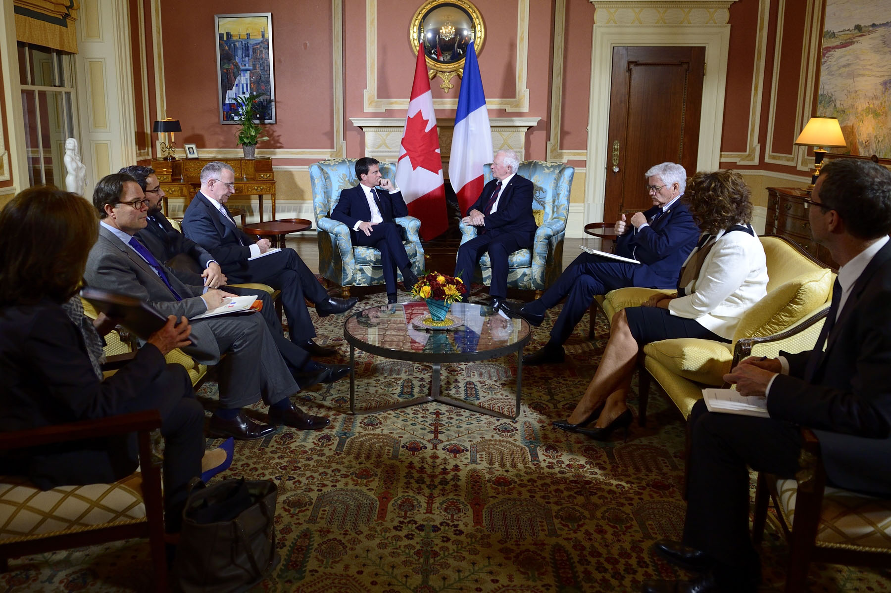 The meeting was held in the Large Drawing Room of Rideau Hall.
