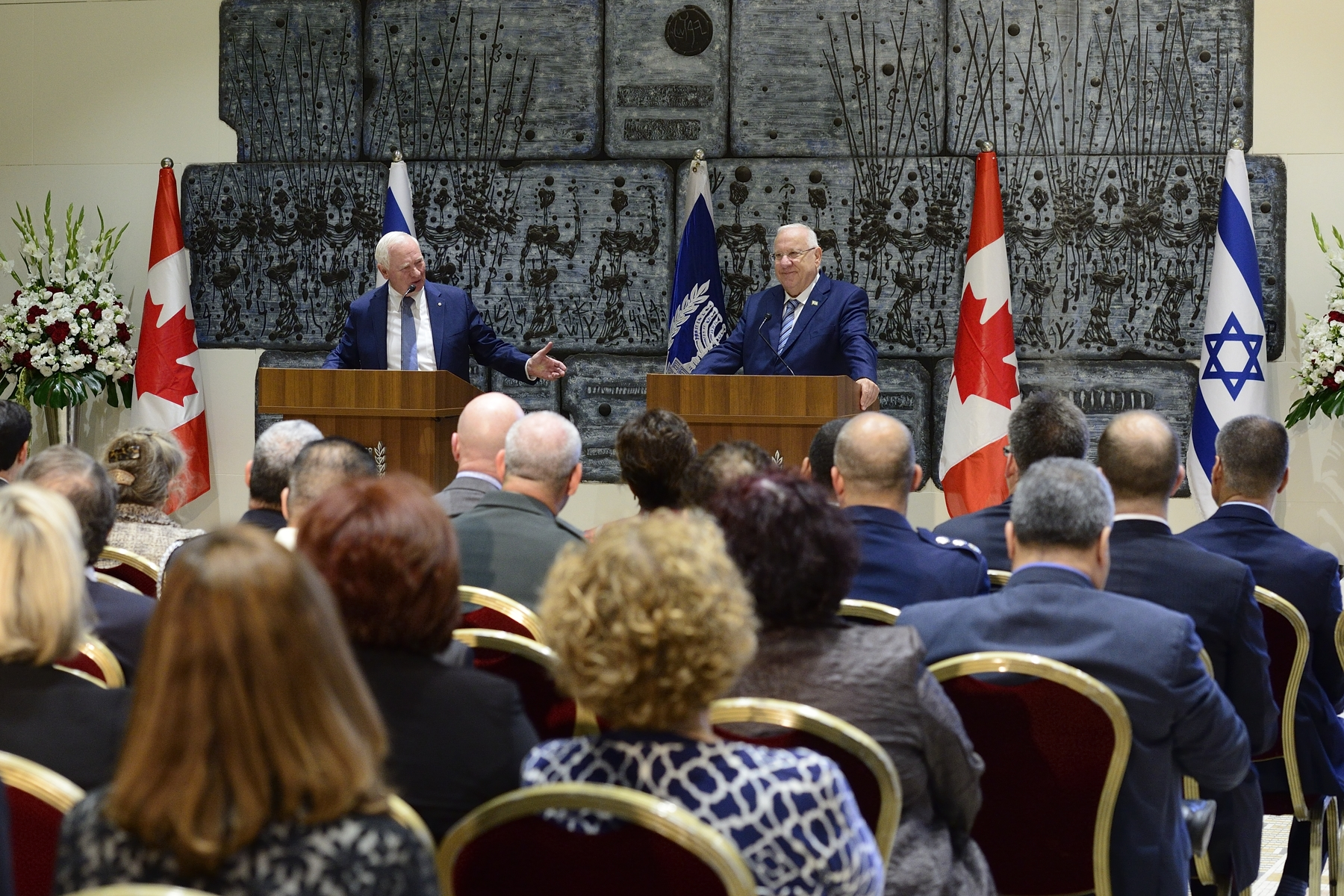 "Following the welcoming ceremony, the Governor General and the President delivered statements to members of the media.In a world of instant, digital communication, face-to-face visits like this are so important. The Canada-Israel relationship is exceptional. It has economic, cultural, scientific, political and strategic dimensions, all of which are grounded in our people-to-people ties,"" said the Governor General."