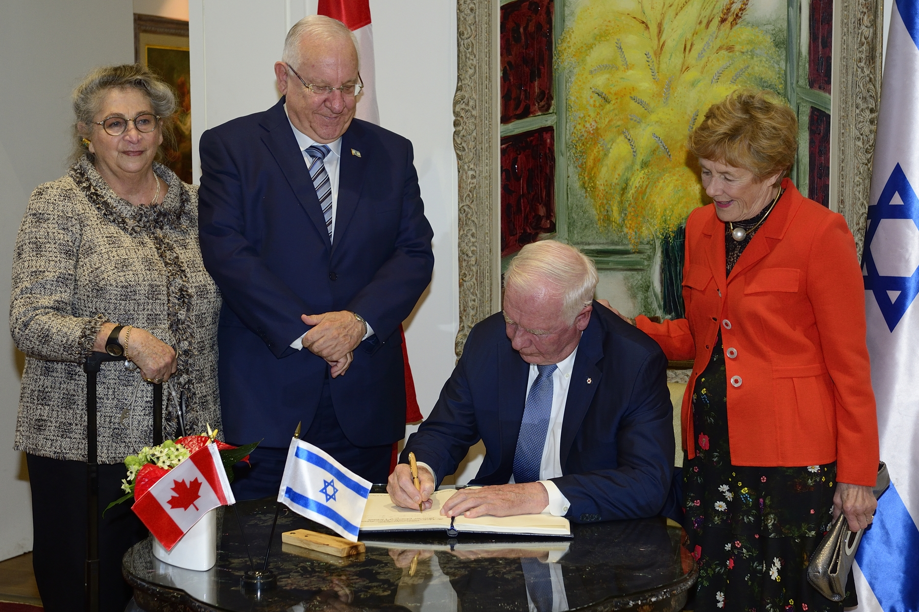 To mark their visit, Their Excellencies signed the guest book.