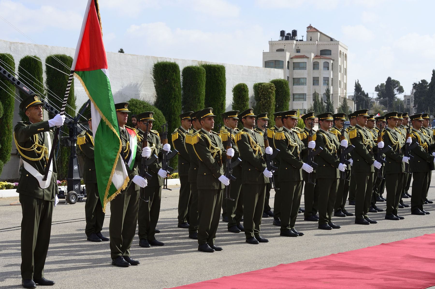 The ceremony was held at the Muqata'a Presidential Compound.