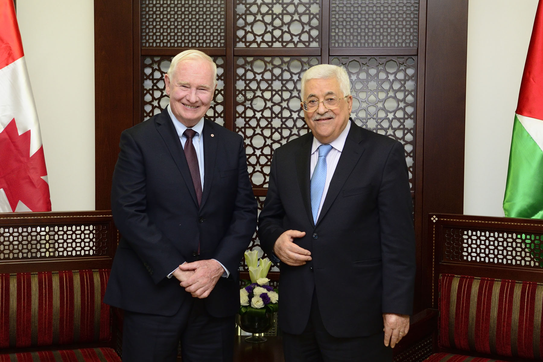 Following the ceremony, the Governor General met with President Abbas to discuss Canada's commitment to continue to work with the Palestinian Authority.