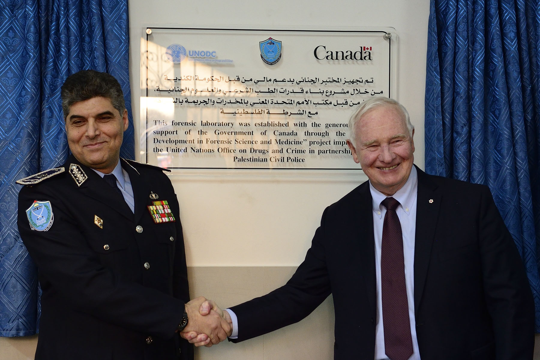Later that afternoon, the Governor General attended the inauguration of a forensic science laboratory, supported by Canadian funding.