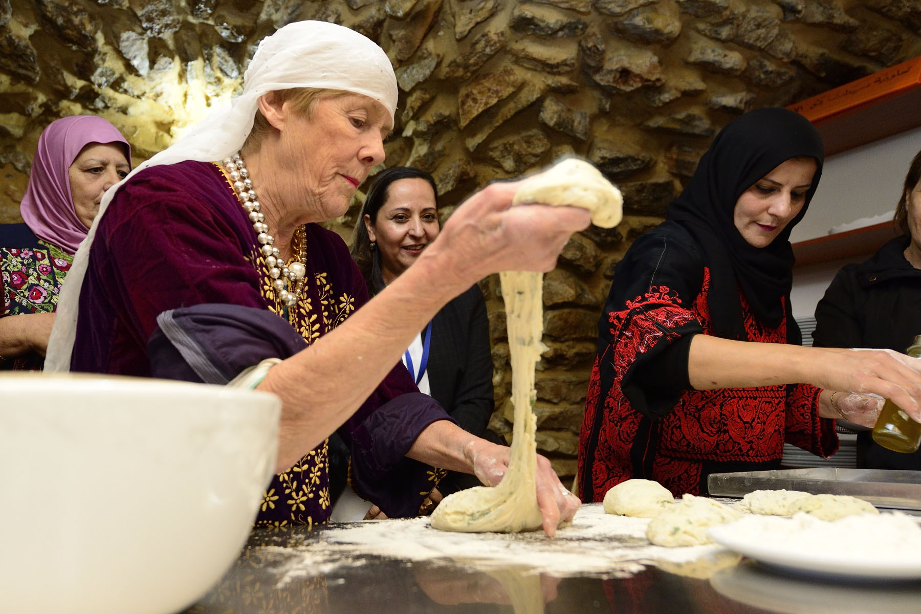 Her Excellency gave a helping hand and made Palestinian bread.