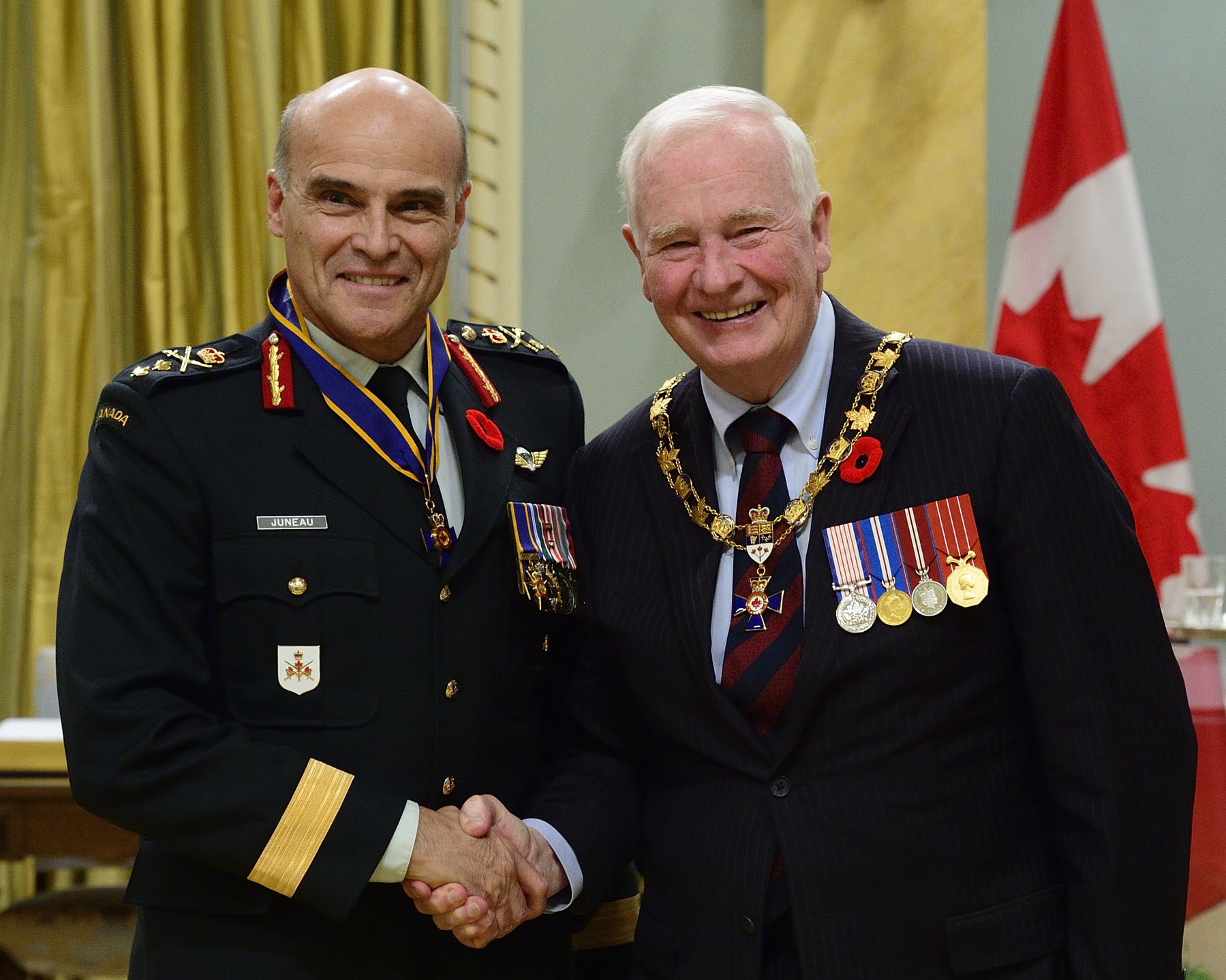 His Excellency presented the Order of Military Merit at the Commander level (C.M.M.) to Major-General Christian Juneau, C.M.M., M.S.M., C.D., Office of the Chief of the Army Staff