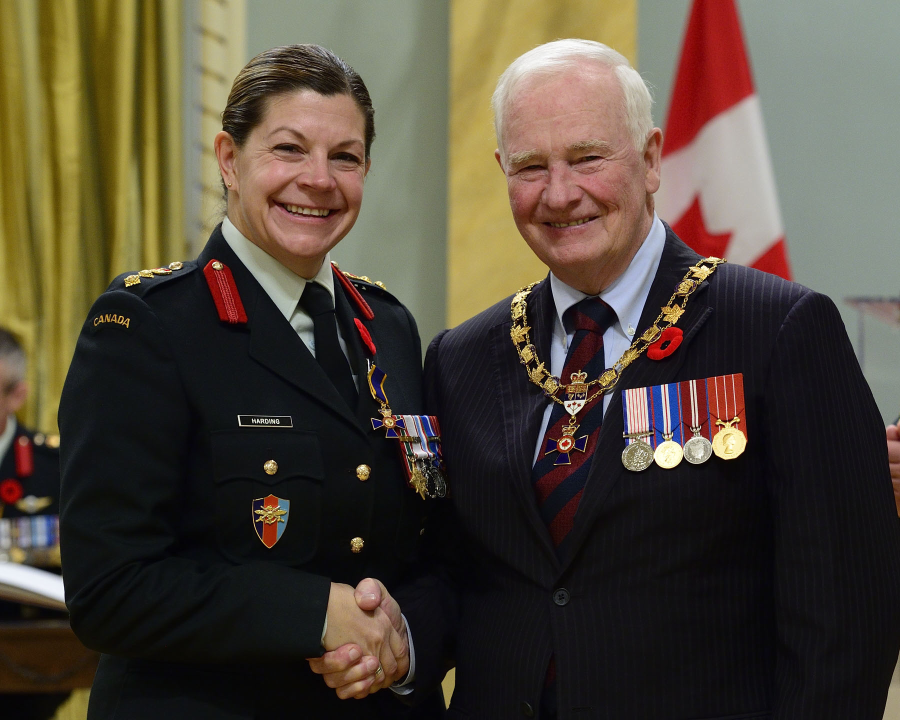 His Excellency presented the Order of Military Merit at the Officer level (O.M.M.) to Lieutenant-Colonel Carla Marie Harding, O.M.M., C.D., 2 Service Battalion, Petawawa, Ontario.
