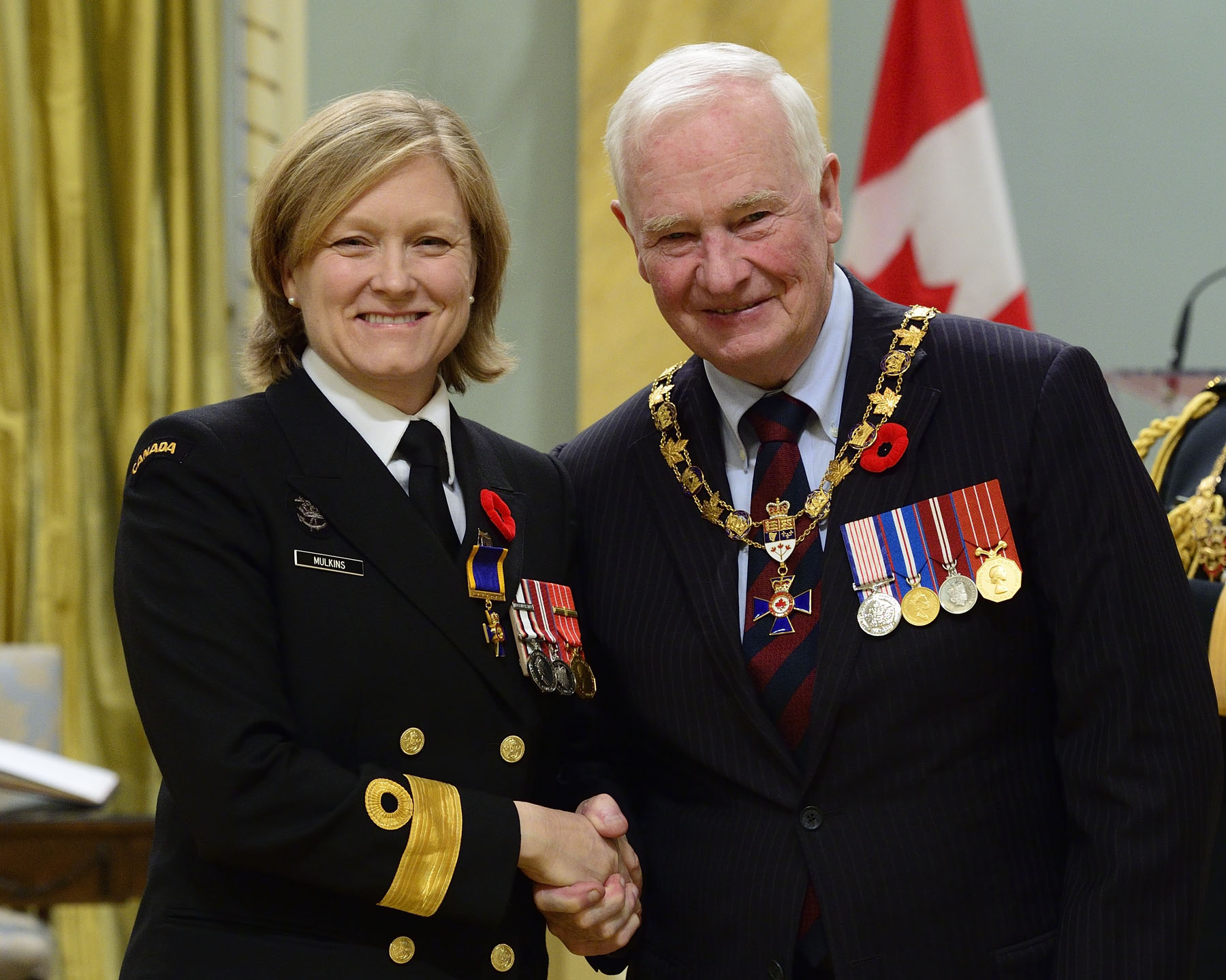 His Excellency presented the Order of Military Merit at the Officer level (O.M.M.) to Captain(N) Marta Beattie Mulkins, O.M.M., C.D., Naval Reserve Headquarters, Québec, Quebec.
