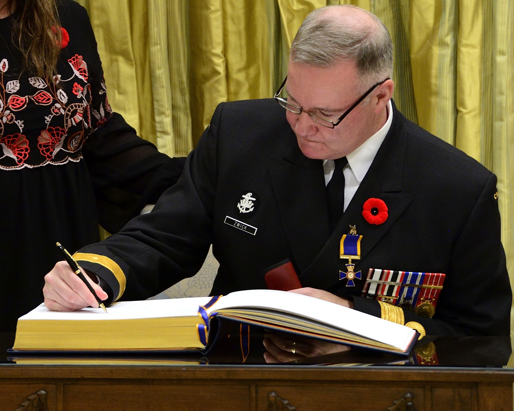 His Excellency presented the Order of Military Merit at the Officer level (O.M.M.) to Captain(N) Jeffery Blair Zwick, O.M.M., C.D., Office of Chief of Programme, Ottawa, Ontario.