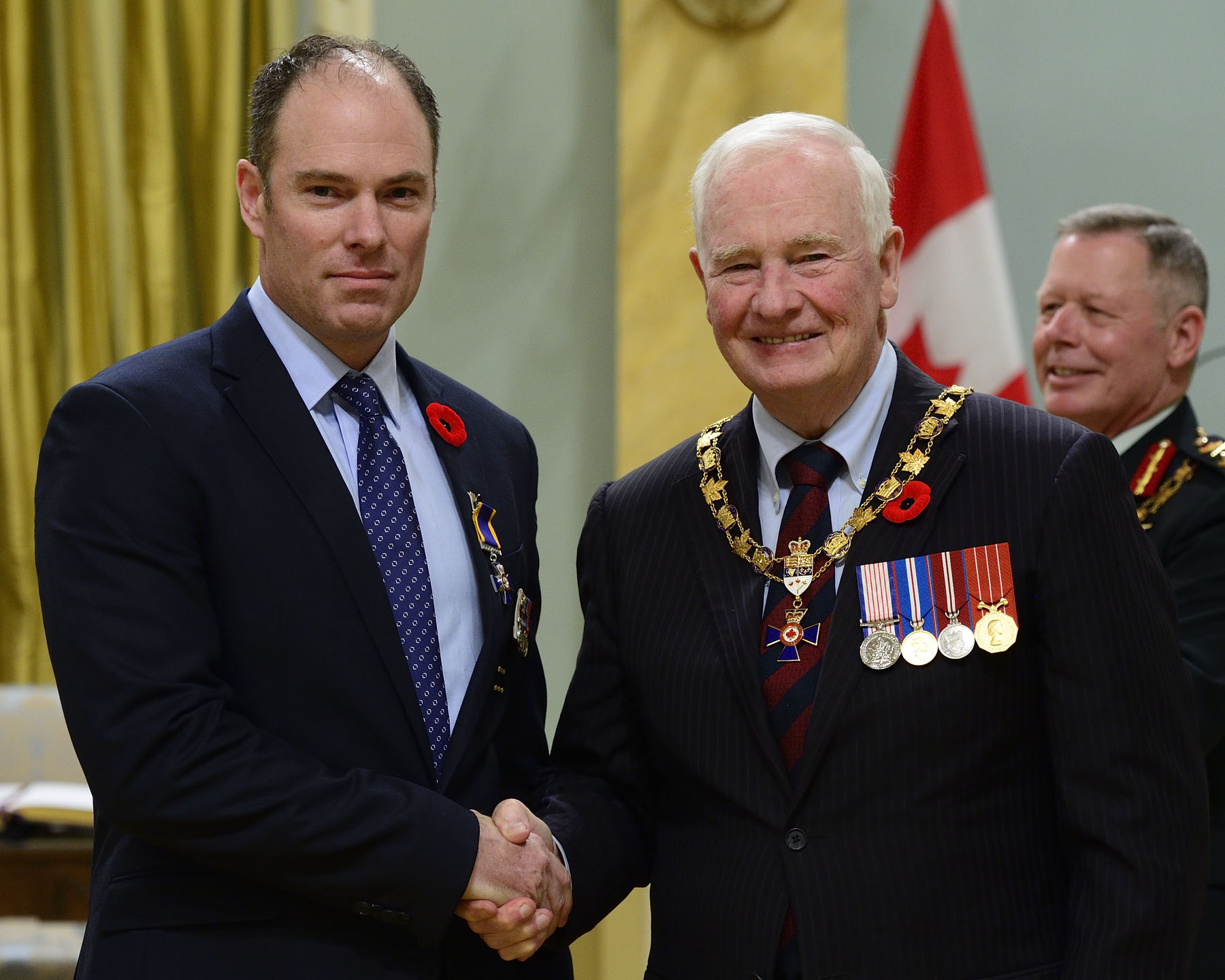 His Excellency presented the Order of Military Merit at the Member level (M.M.M.) to Warrant Officer Jonathan Douglas Hawtin, M.M.M., C.D., 1st Regiment, Royal Canadian Horse Artillery, Shilo, Manitoba.