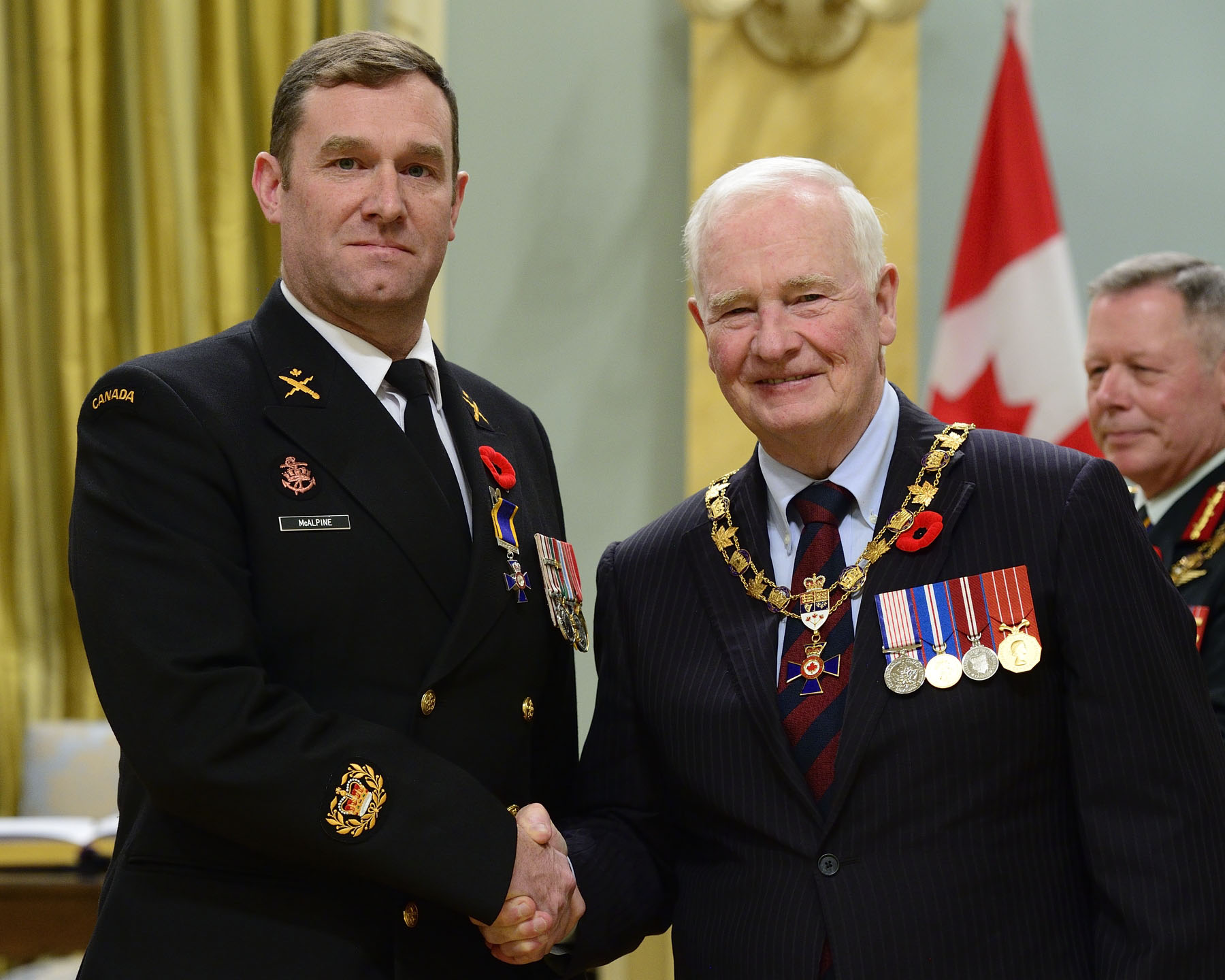His Excellency presented the Order of Military Merit at the Member level (M.M.M.) to Chief Petty Officer 2nd Class David Kenneth McAlpine, M.M.M., C.D., Canadian Forces Fleet School Esquimalt, Victoria, British Columbia.