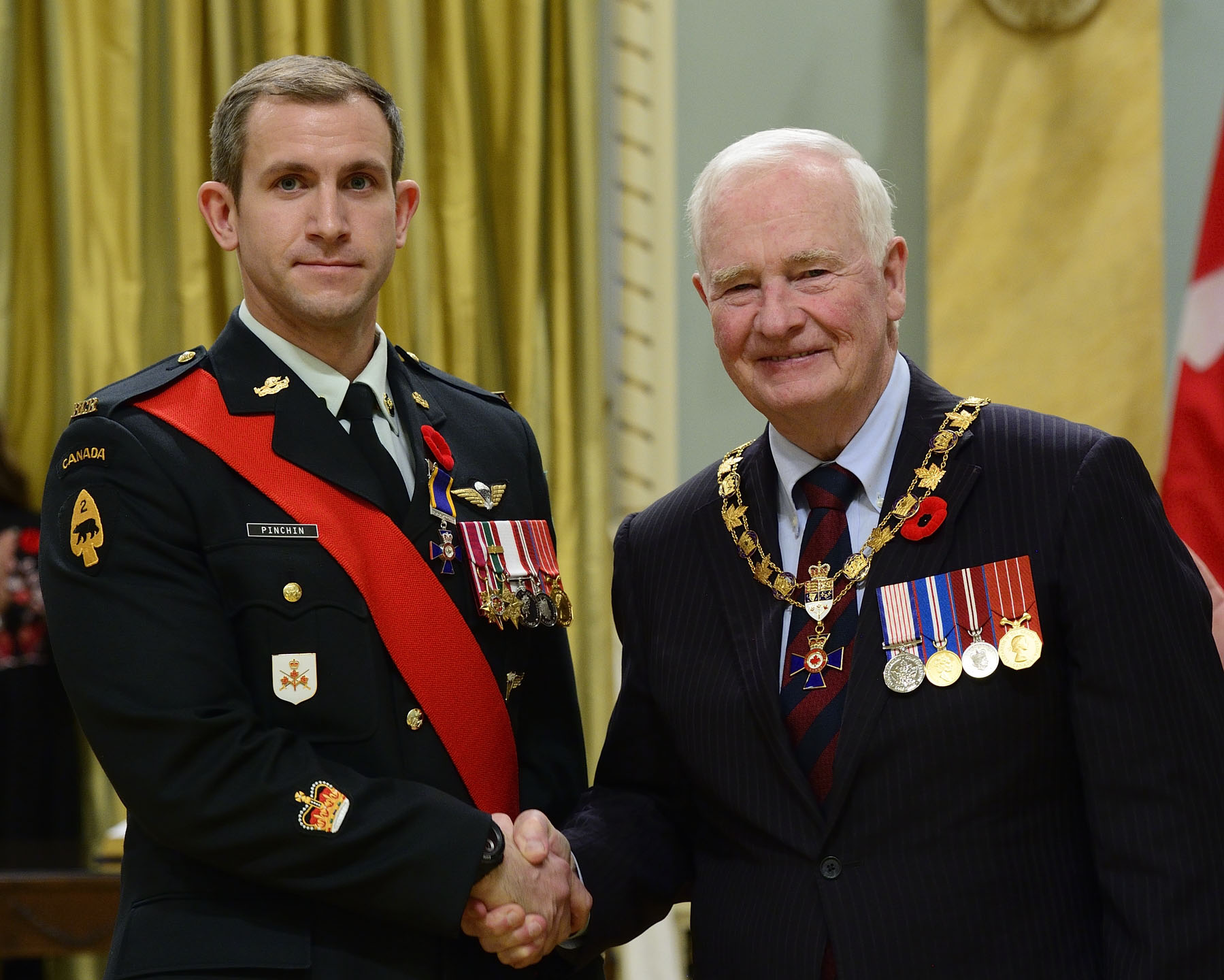 His Excellency presented the Order of Military Merit at the Member level (M.M.M.) to Sergeant Jeremy Pinchin, M.M.M., S.M.V., C.D., 3rd Battalion, Royal Canadian Regiment, Petawawa, Ontario.
